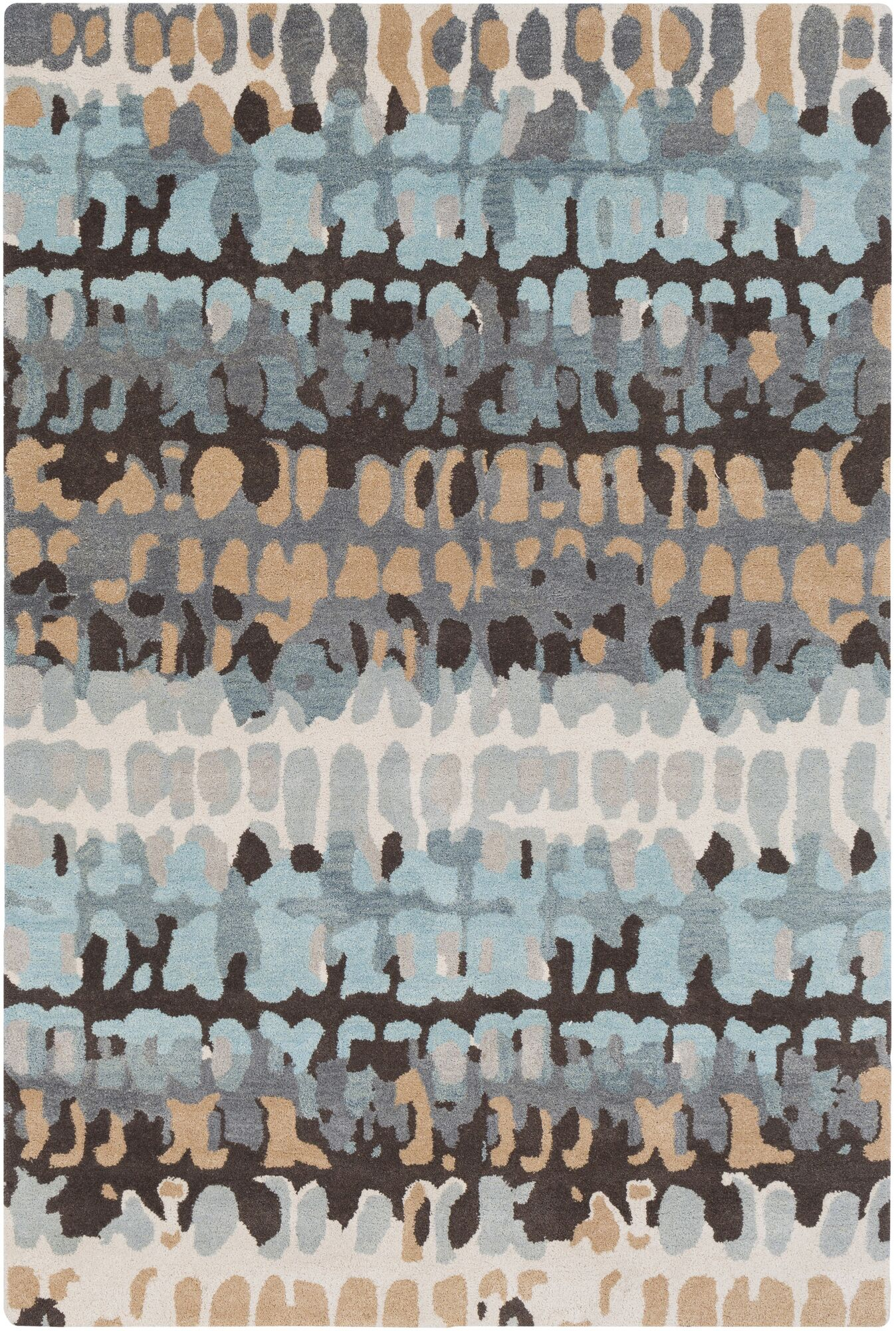 Axelle Abstract Hand Tufted Wool Gray/Khaki Area Rug Rug Size: Rectangle 5' x 7'6