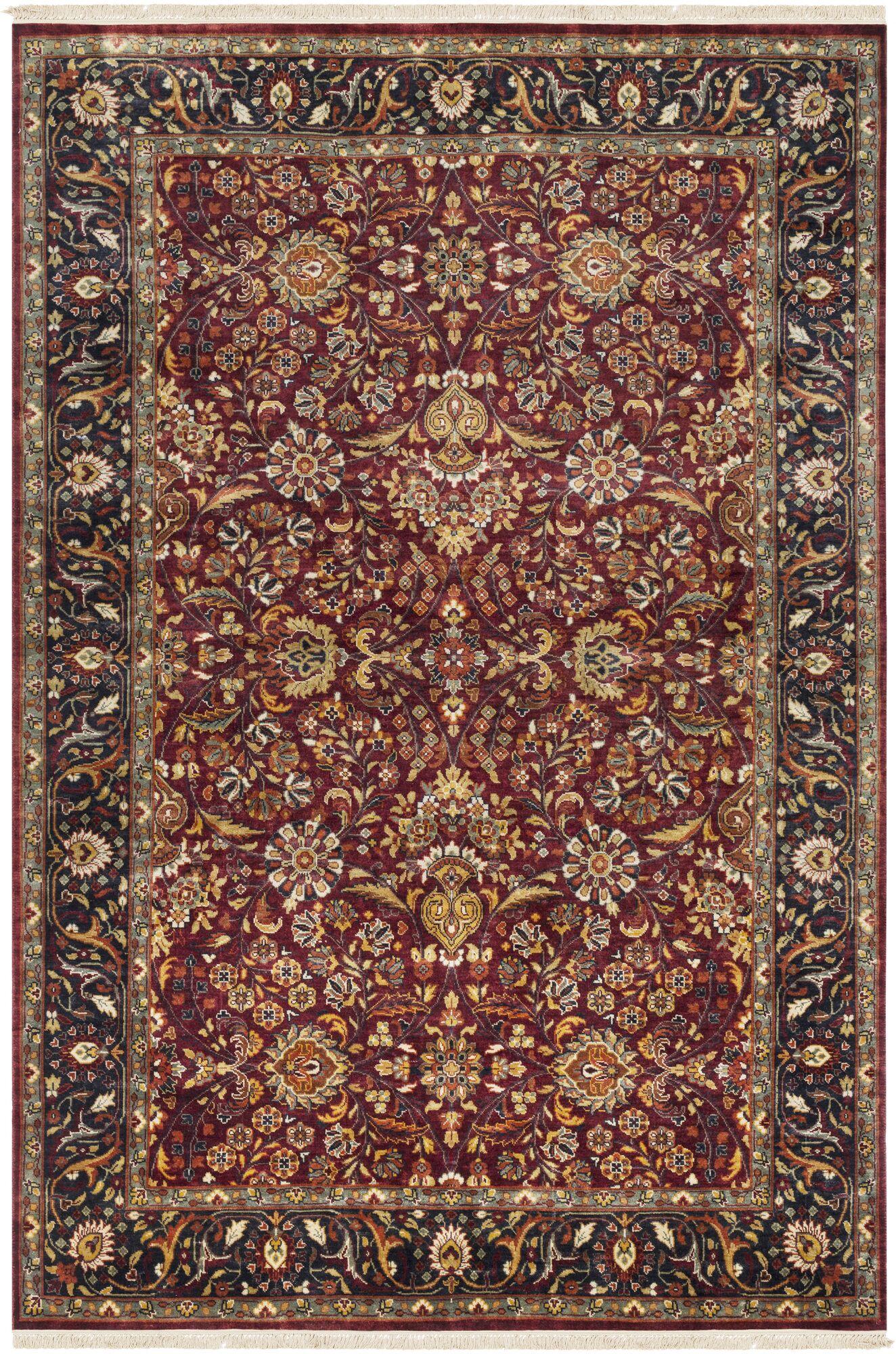 Fernwood Oriental Hand Knotted Wool Garnet/Dark Brown Area Rug Rug Size: 5'6