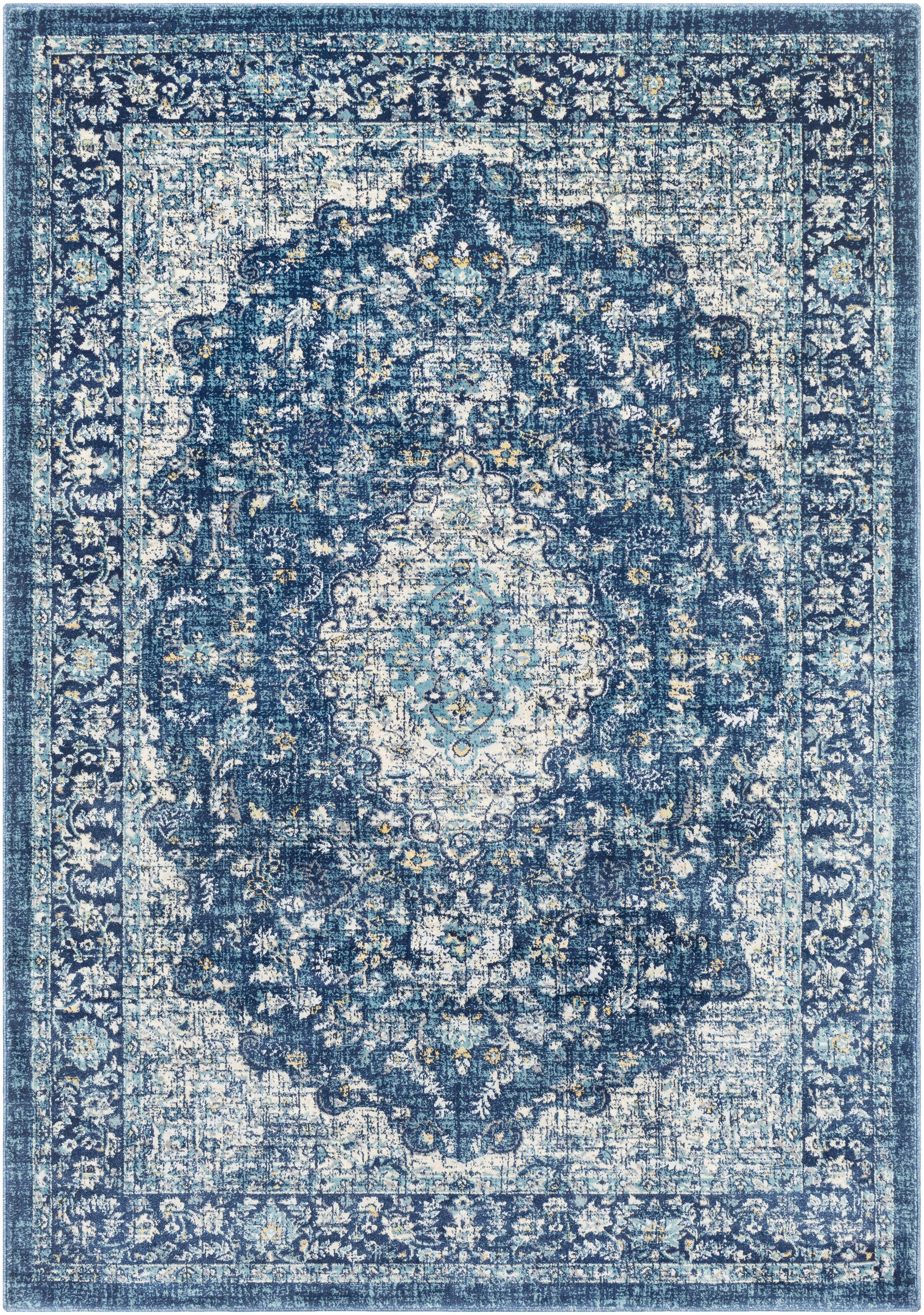 Grace Traditional Navy/Blue Area Rug Rug Size: Rectangle 5'3