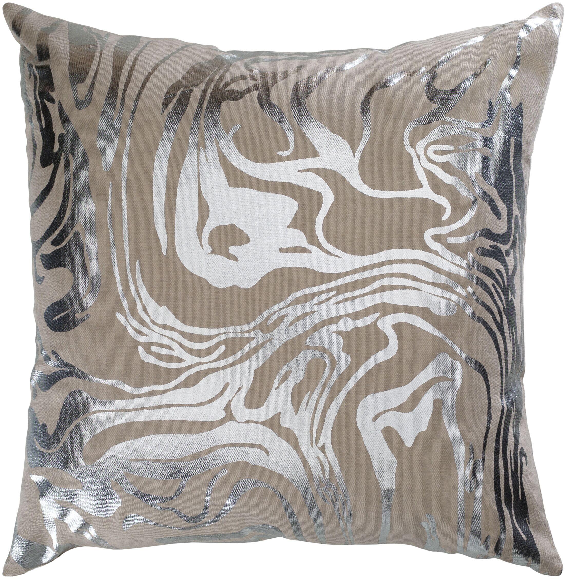 Crescent Khaki Modern Cotton Throw Pillow Size: 18