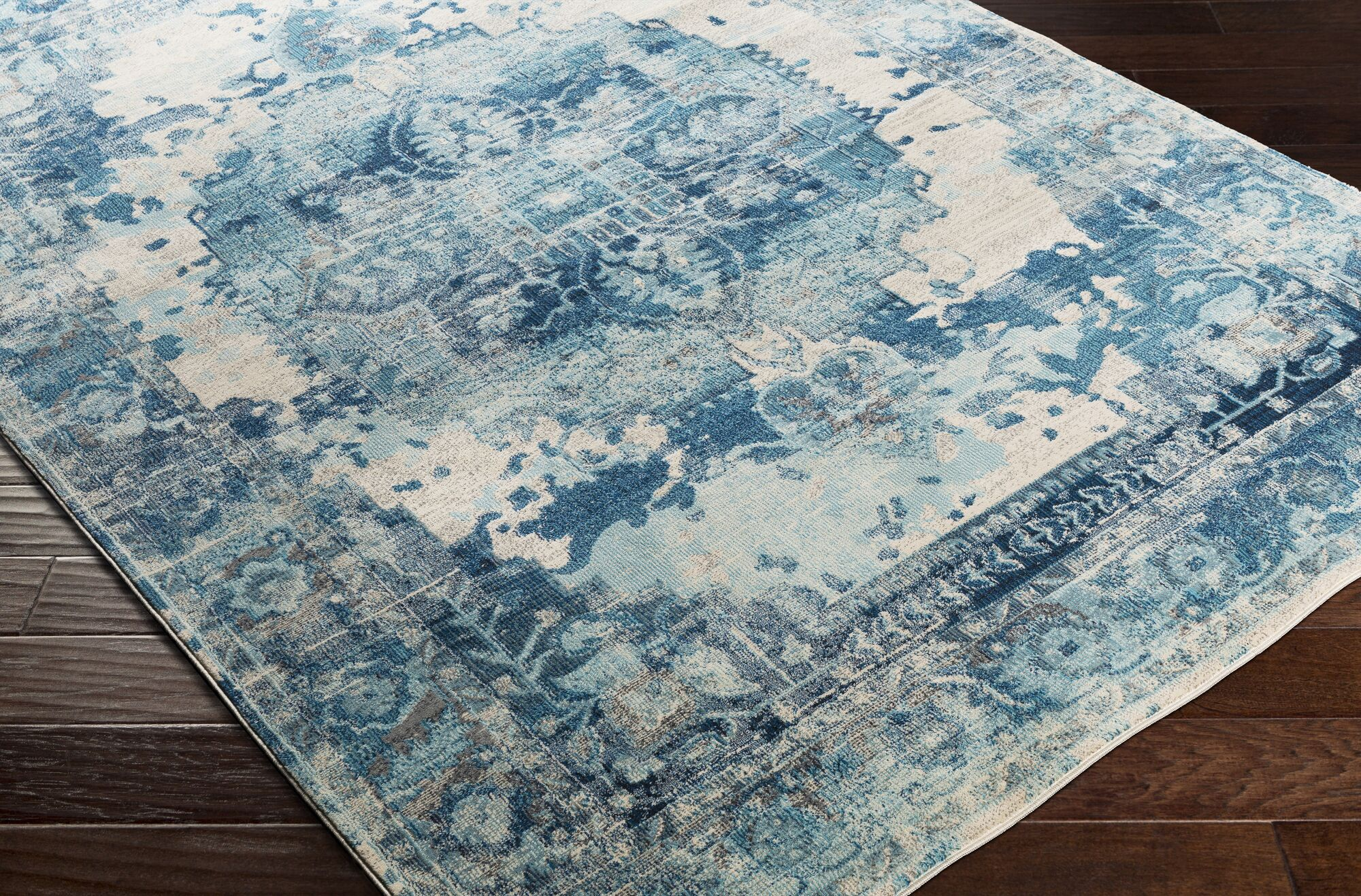 Lillo Distressed Sky Blue/Ivory Area Rug Rug Size: Runner 2'7