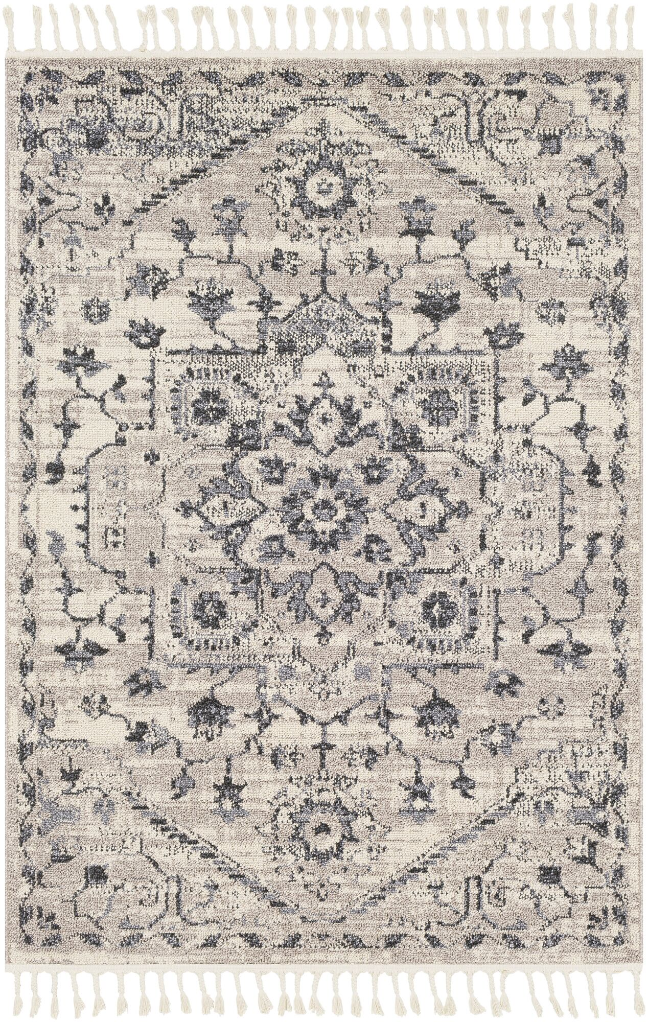 Tamika Distressed Vintage Charcoal/Ivory Area Rug Rug Size: Rectangle 3'11