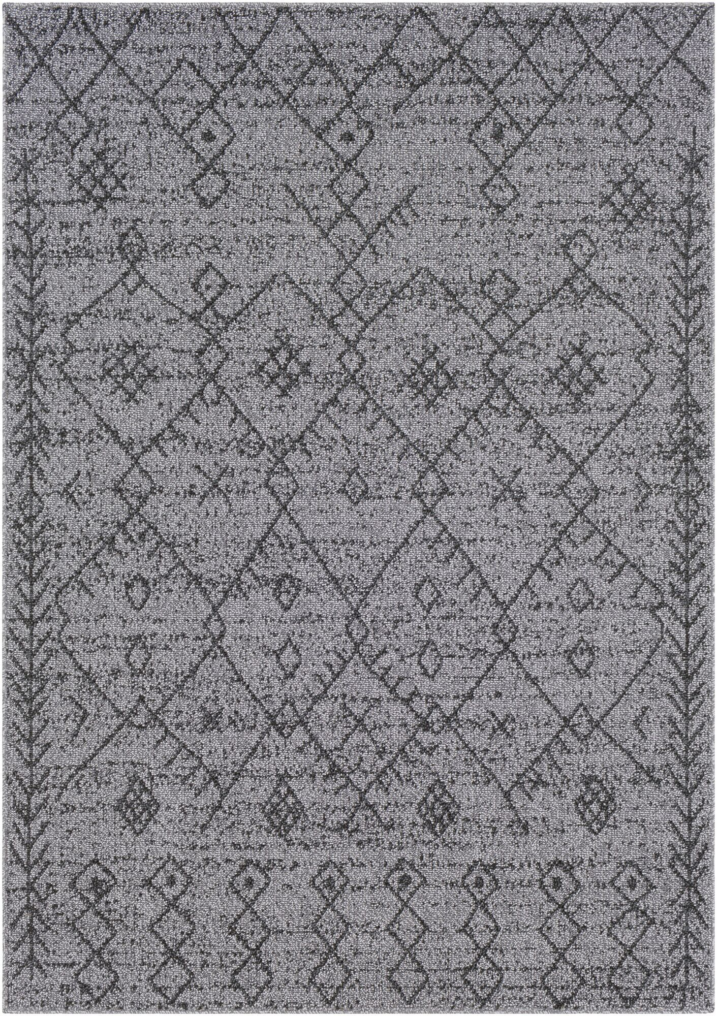 Hudgens Distressed Gray/Charcoal Area Rug Rug Size: Rectangle 9'3