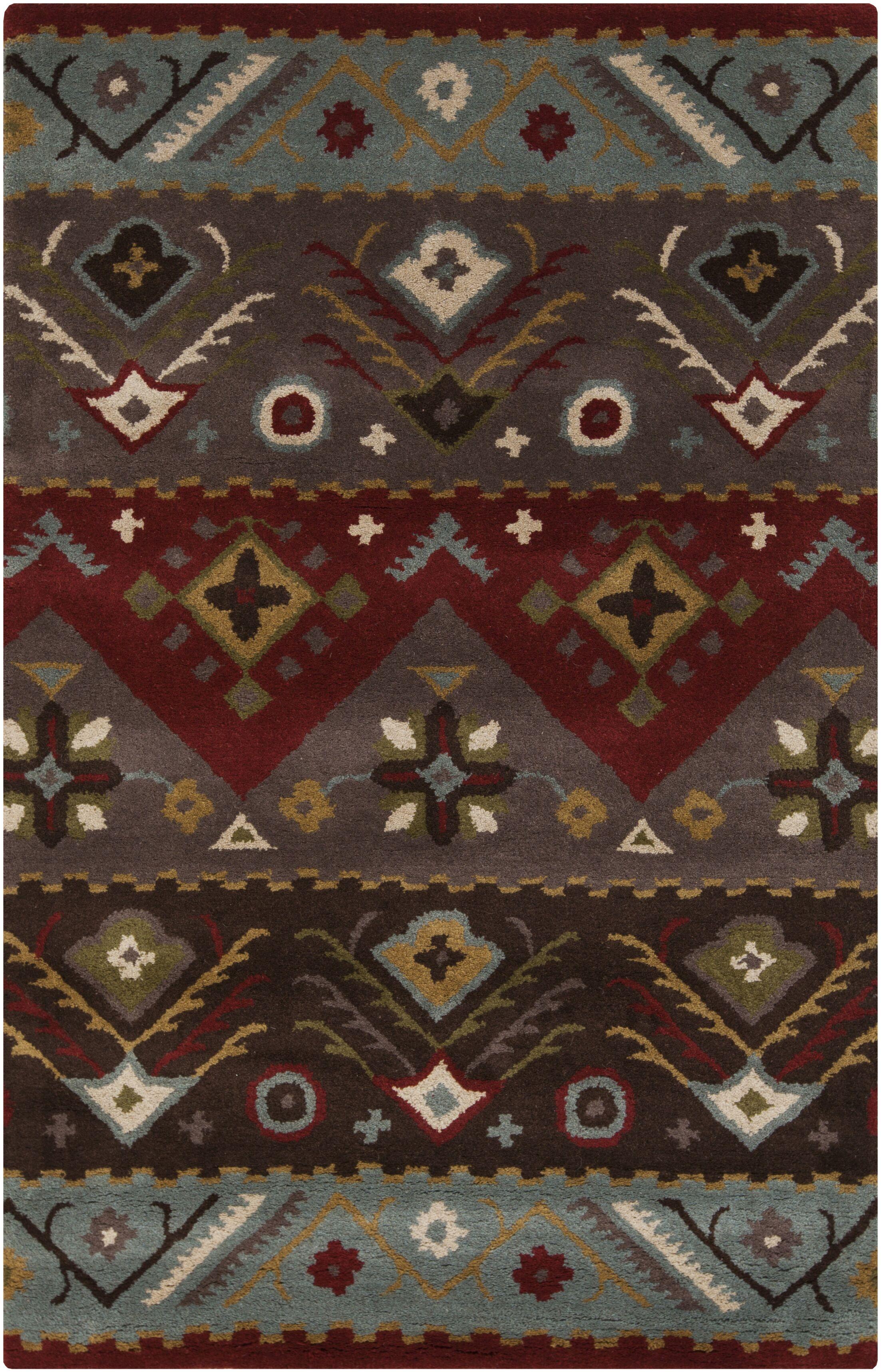 Co Bohemian Hand-Tufted Garnet/Plum Area Rug Rug Size: Rectangle 3'6