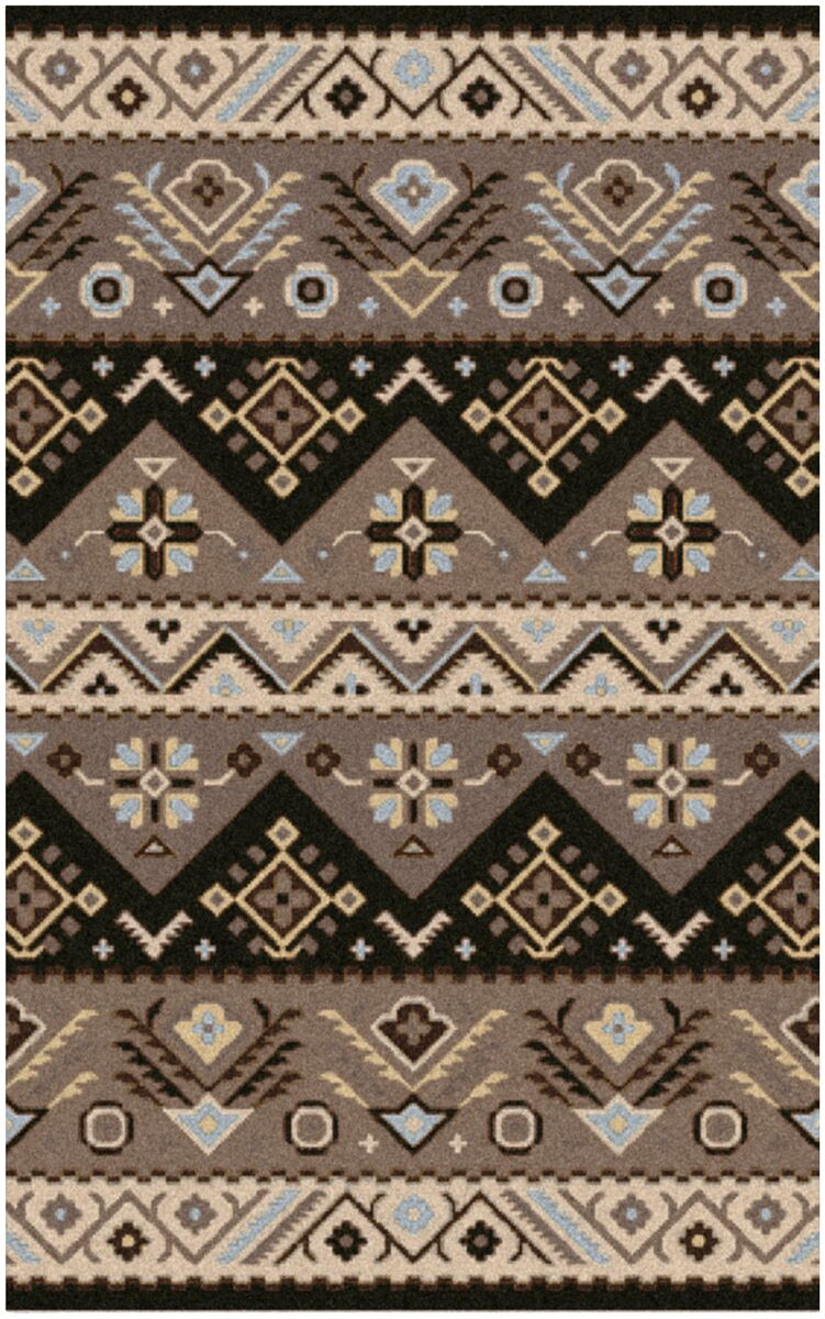 Co Bohemian Hand-Tufted Wool Black/Sky Blue Area Rug Rug Size: Rectangle 9' x 12'