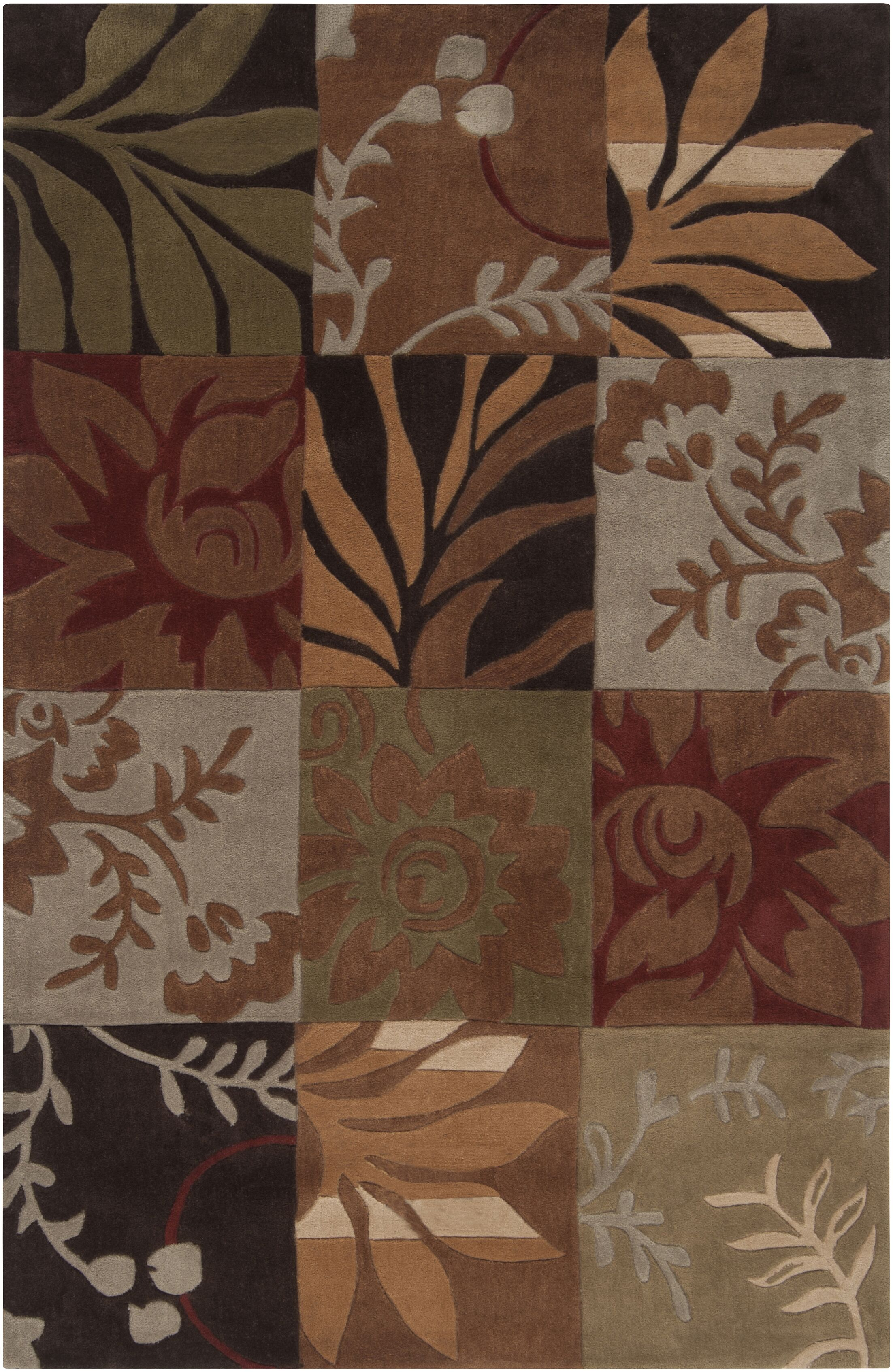 Funderburk Hand-Tufted Olive/Garnet Area Rug Rug Size: Rectangle 9' x 12'