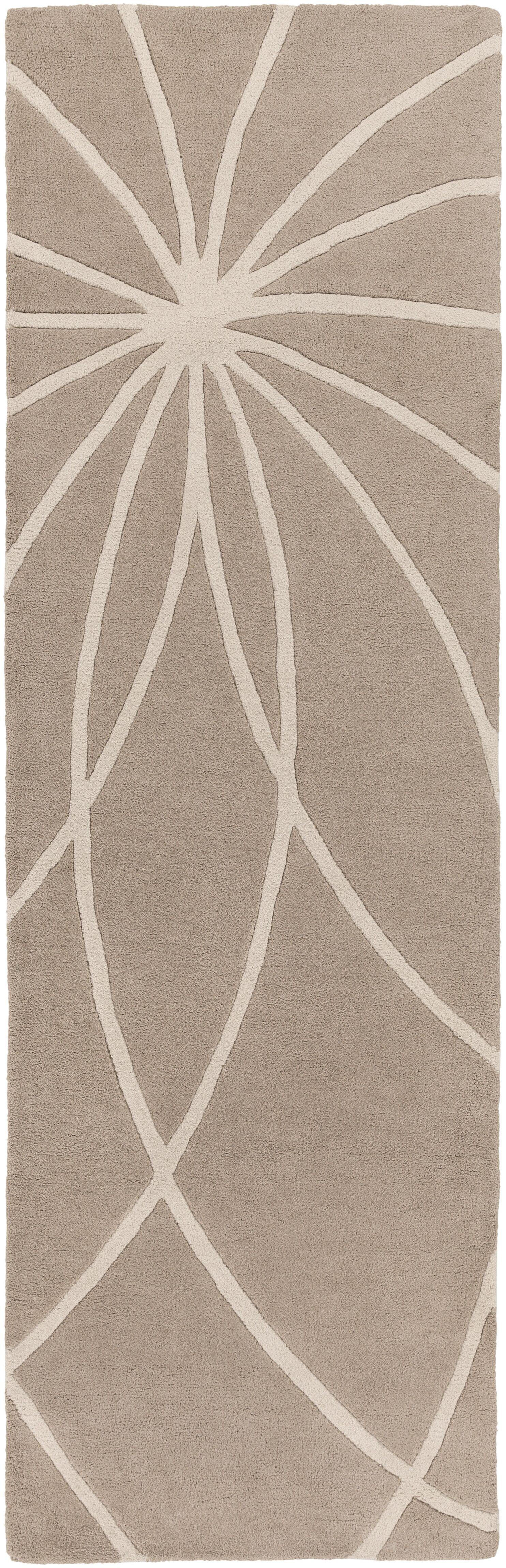 Carnahan Hand-Tufted Wool Khaki/Cream Area Rug Rug Size: Runner 3' x 12'