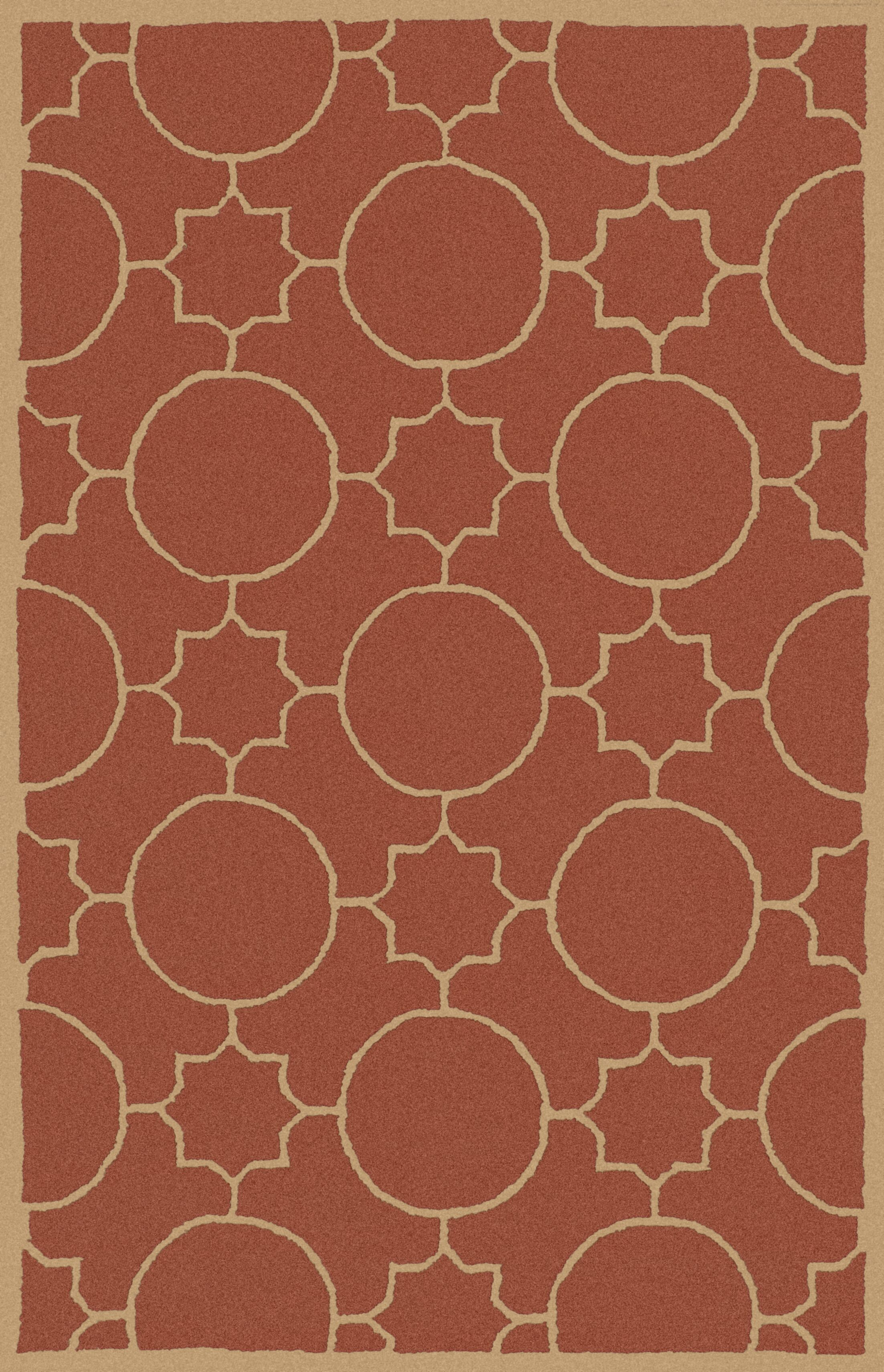Lepus Geometric Hand-Tufted Wool Burnt Orange/Wheat Area Rug Rug Size: Rectangle 3'6