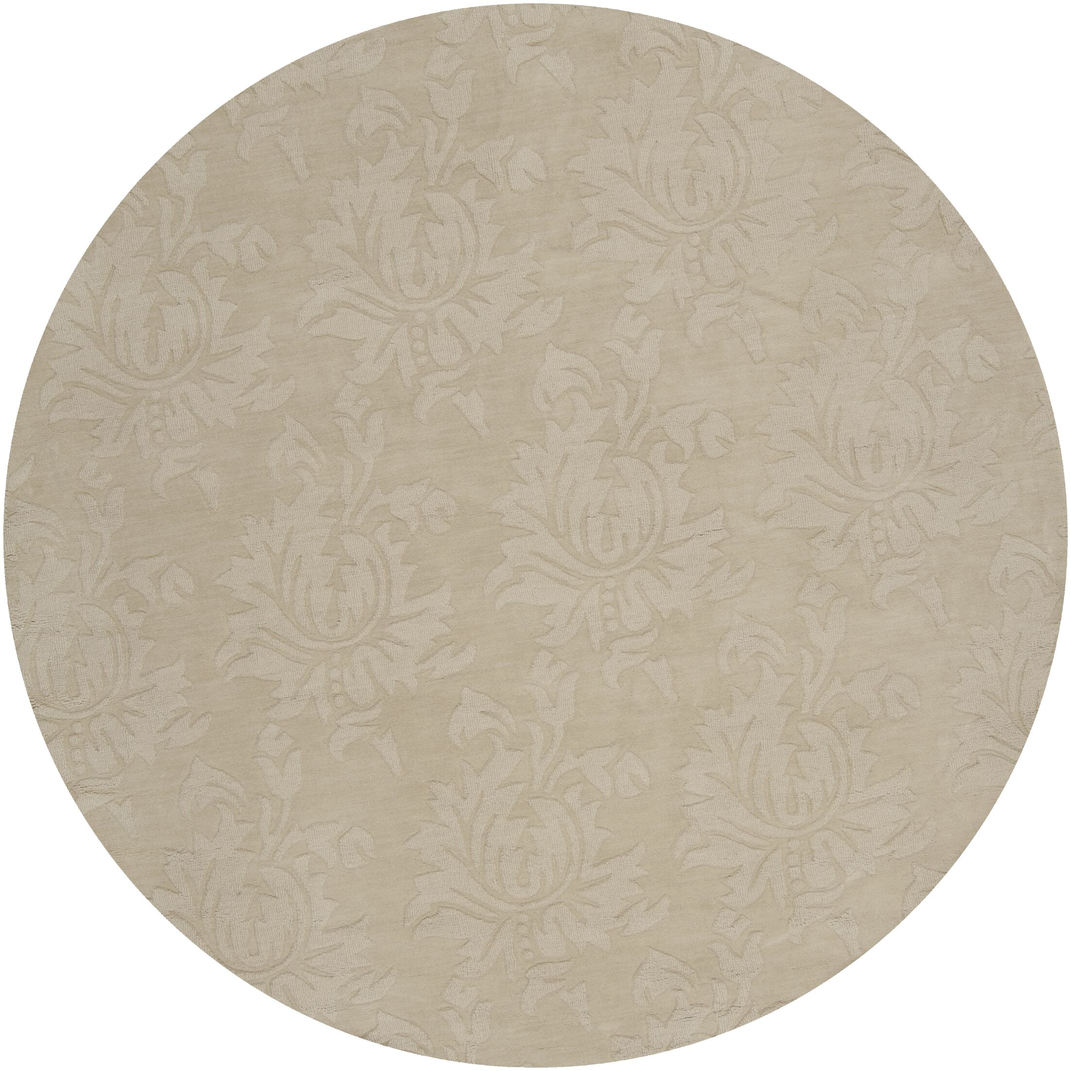 Ardal Hand-Woven Wool Beige Area Rug Rug Size: Round 8'