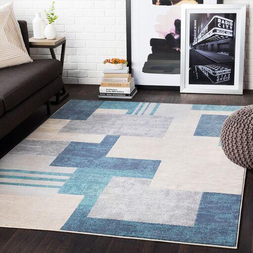 Ashlee Geometric Aqua/Charcoal Area Rug Rug Size: Rectangle 7'10