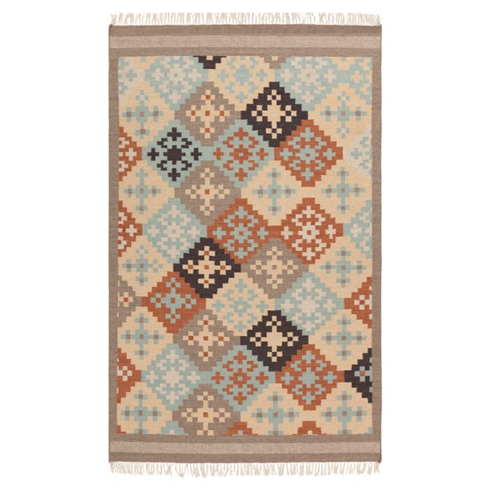 Wellsville Hand Woven Wool Blue/Beige/Brown Area Rug Rug Size: Rectangle 5' x 8'