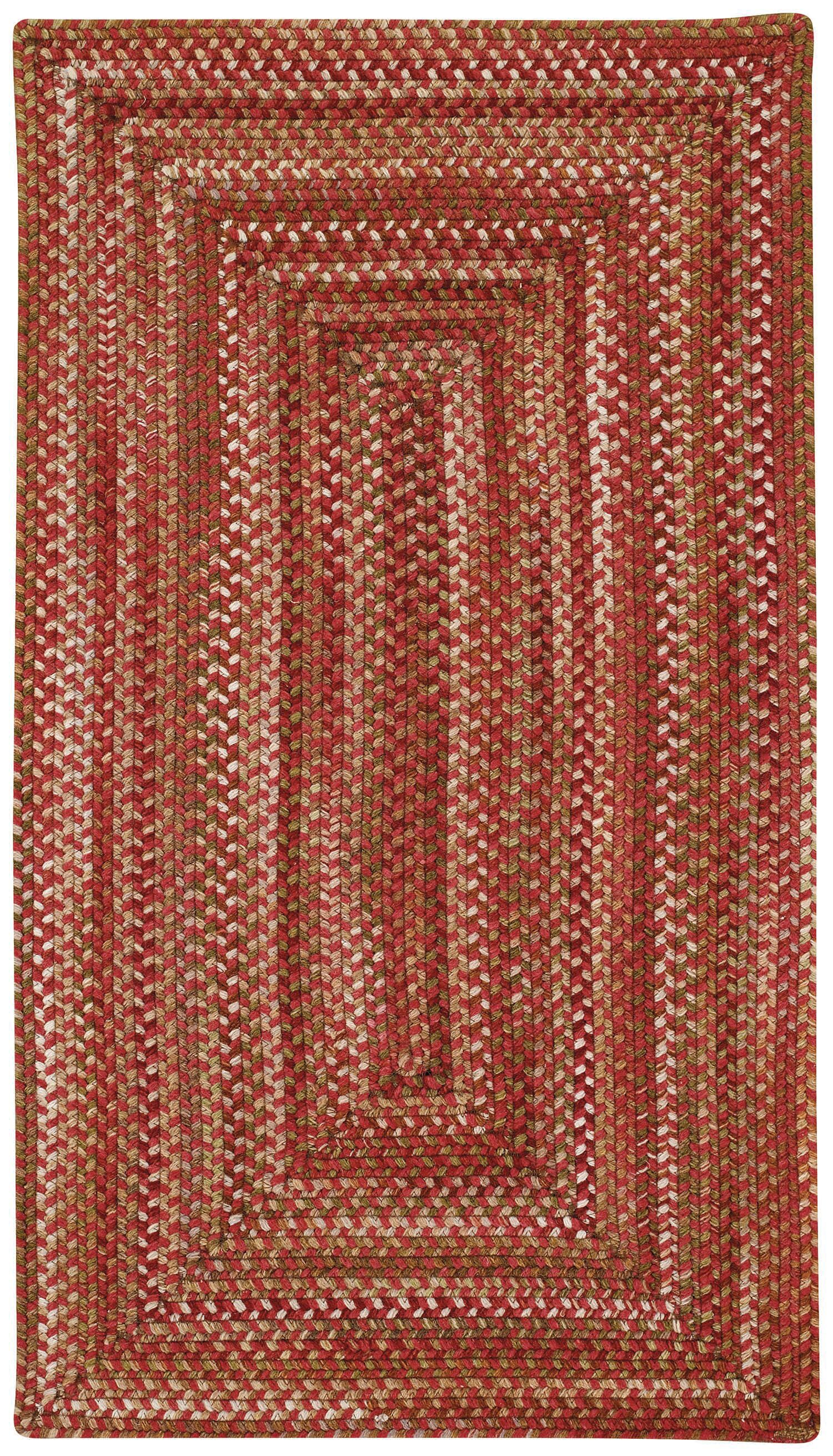 Holcombe Red Wool Hand Braided Area Rug Rug Size: Concentric 2' x 3'