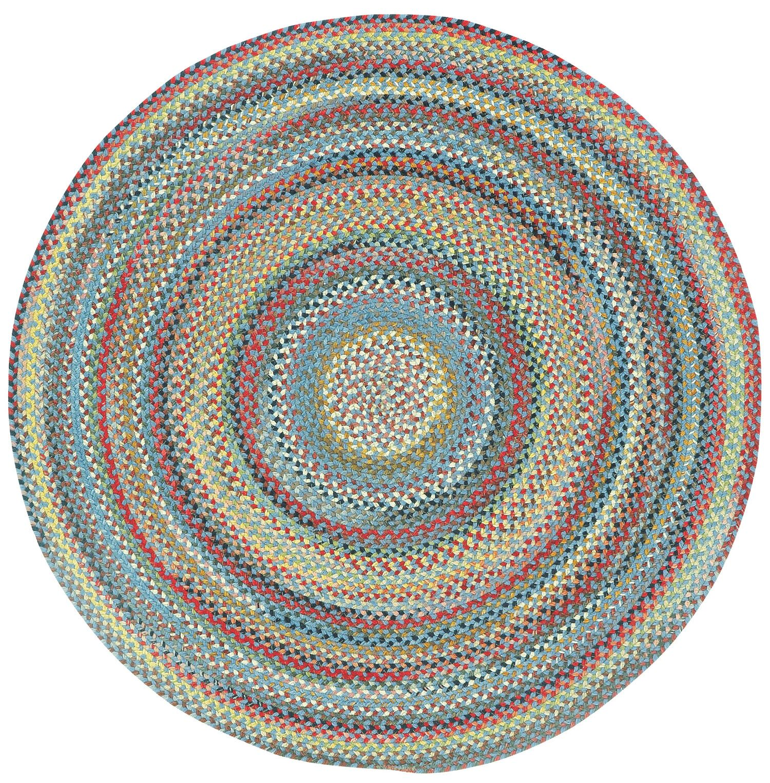 Burdock Medium Blue Variegated Area Rug Rug Size: Round 7'6