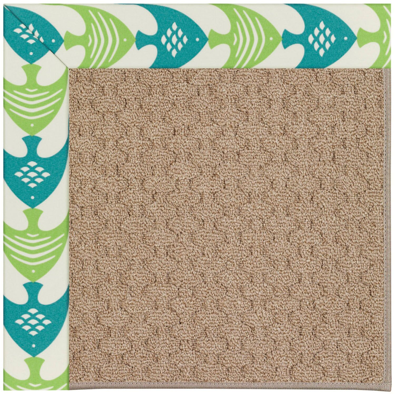 Lisle Machine Tufted Angel Fish Green/Brown Indoor/Outdoor Area Rug Rug Size: Square 8'