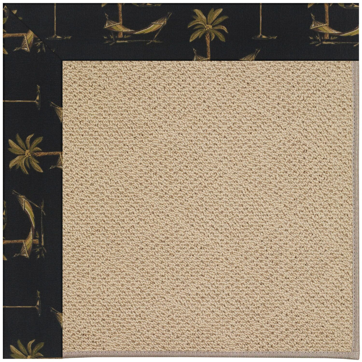 Lisle Machine Tufted Jet Black/Beige Indoor/Outdoor Area Rug Rug Size: Square 4'