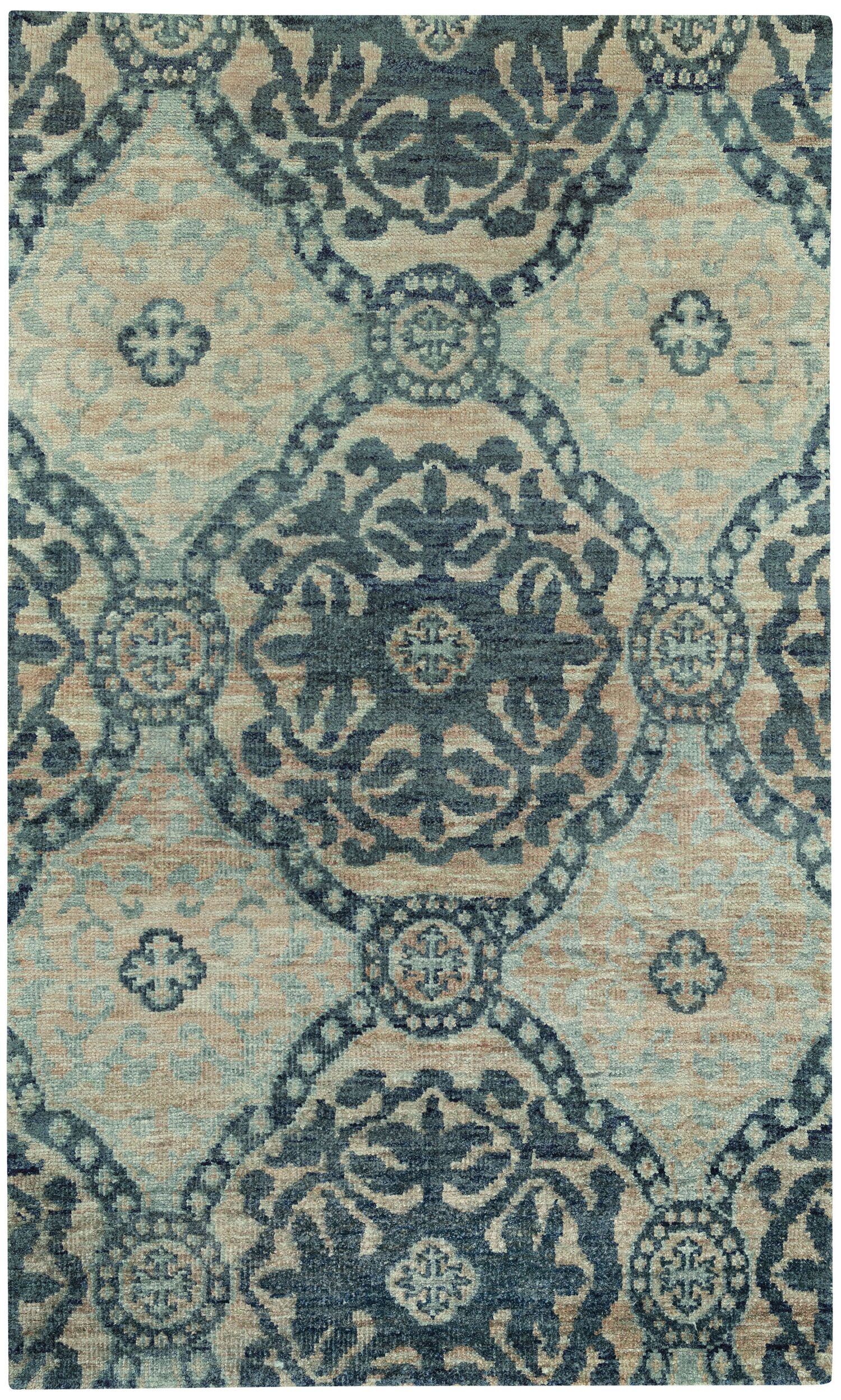 Round About Ring Leader Hand Knotted Blueberry Area Rug Rug Size: 5' x 8'