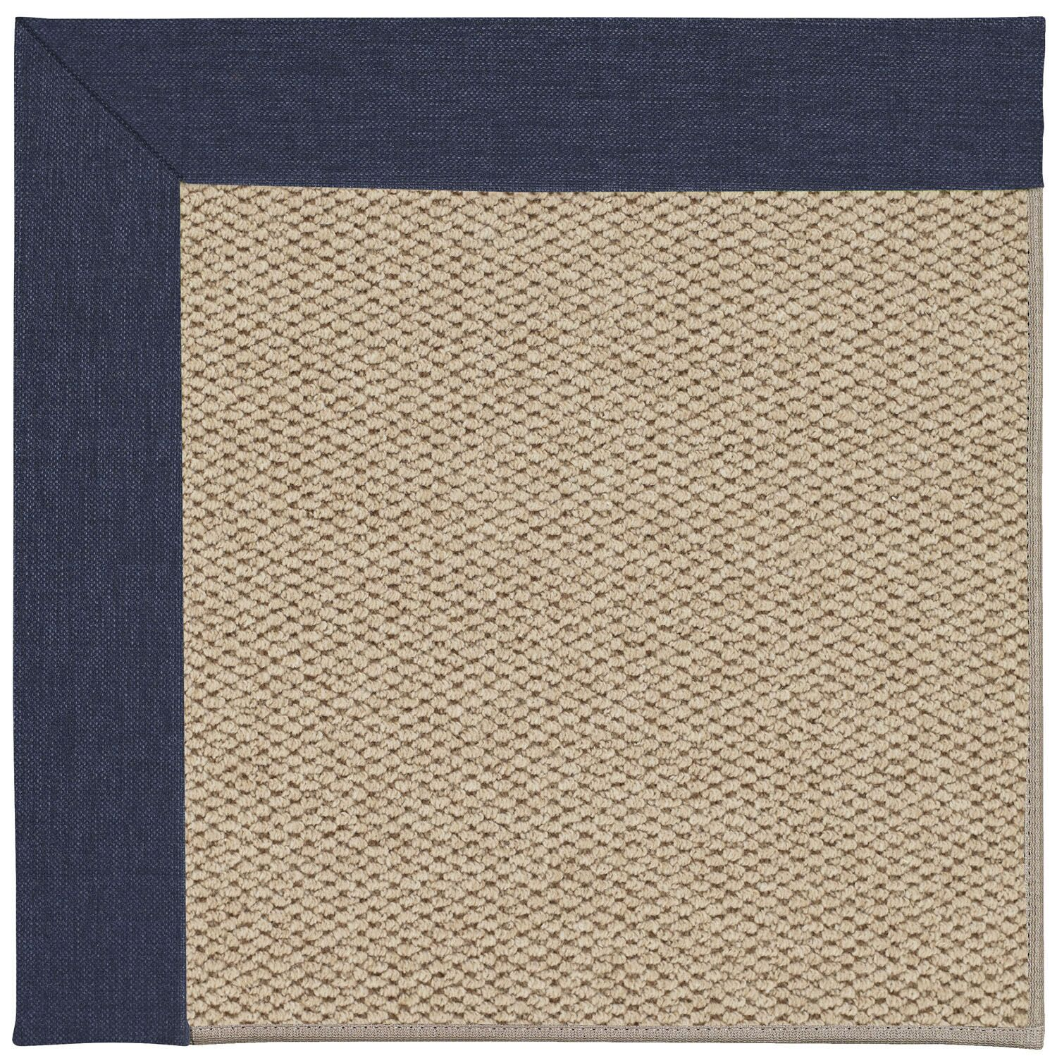 Barrett Champagne Machine Tufted Navy/Beige Area Rug Rug Size: Round 12' x 12'