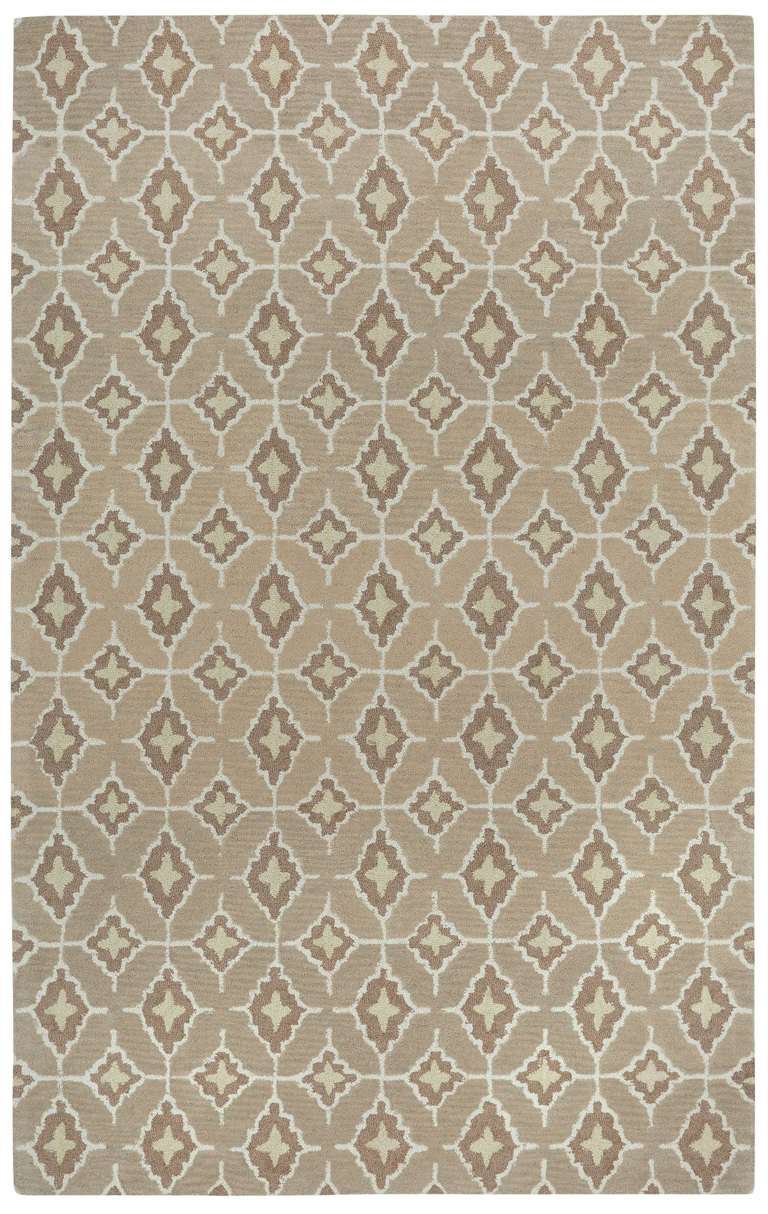 Kevin O'Brien Rossio Hand Tufted Biscuit/Yellow Area Rug Rug Size: 7' x 9'