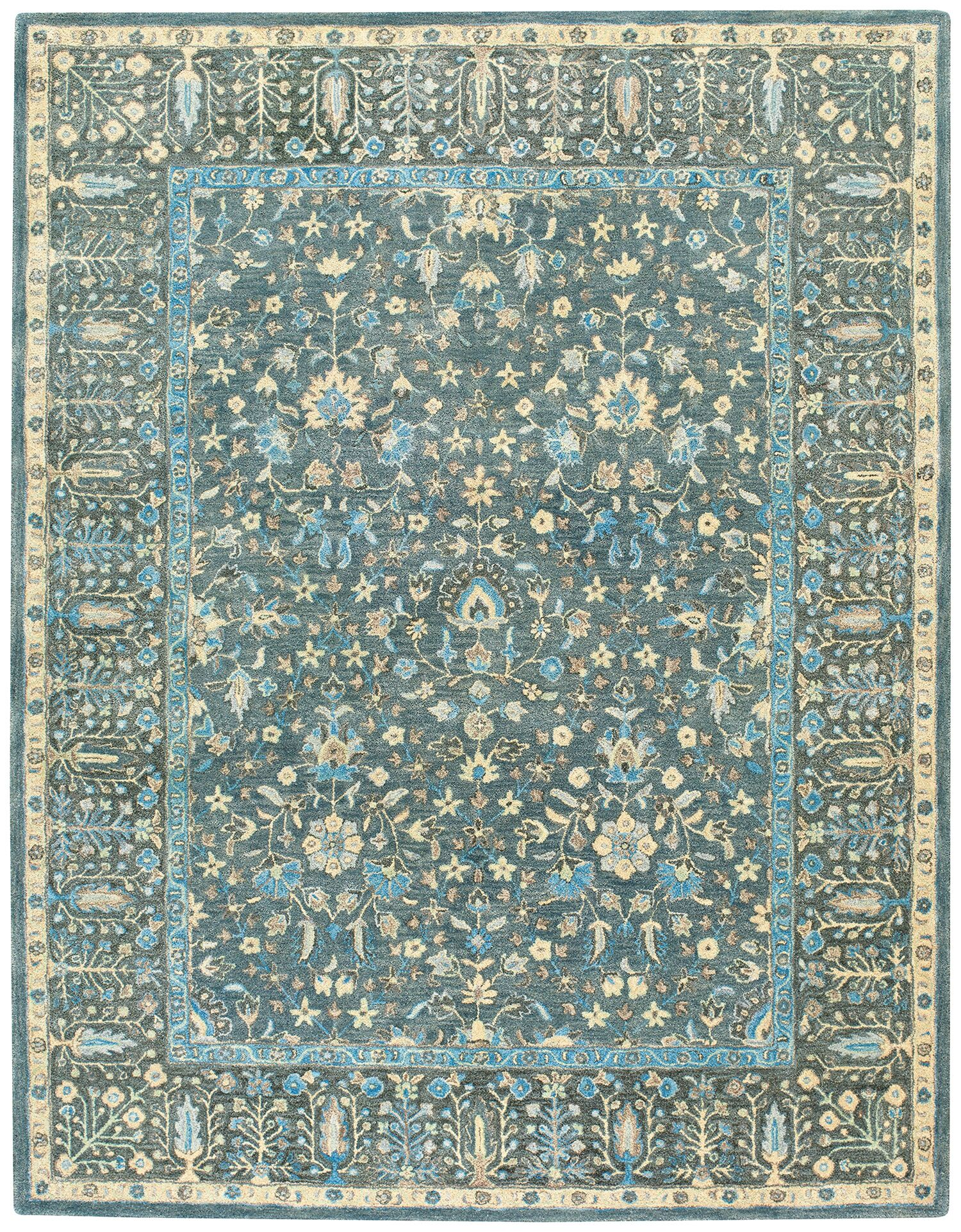 Smyrna Hand-Tufted Blue Area Rug Rug Size: Runner 2'6