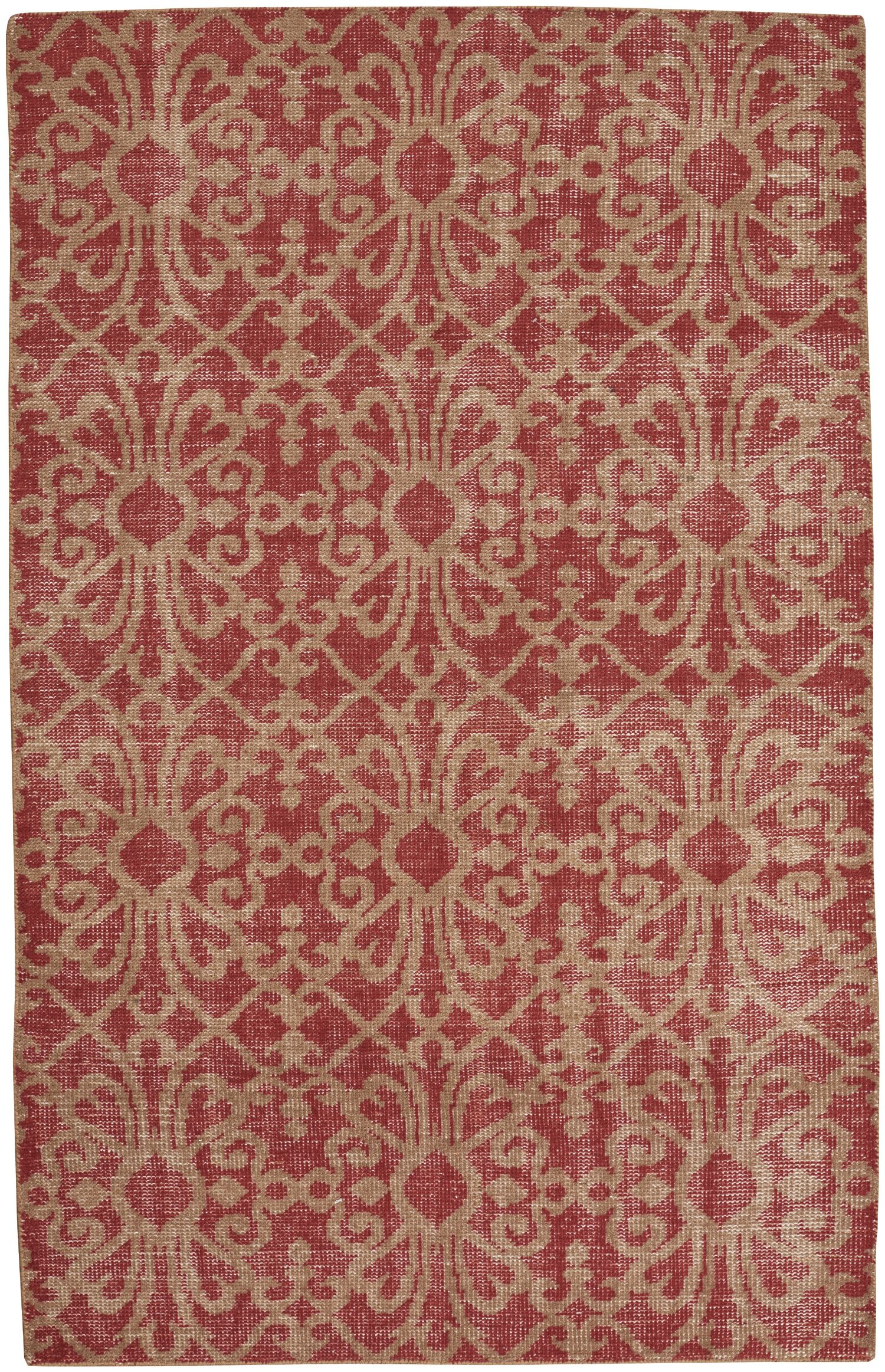 Classic Hand-Knotted Red Area Rug Rug Size: 5' x 8'