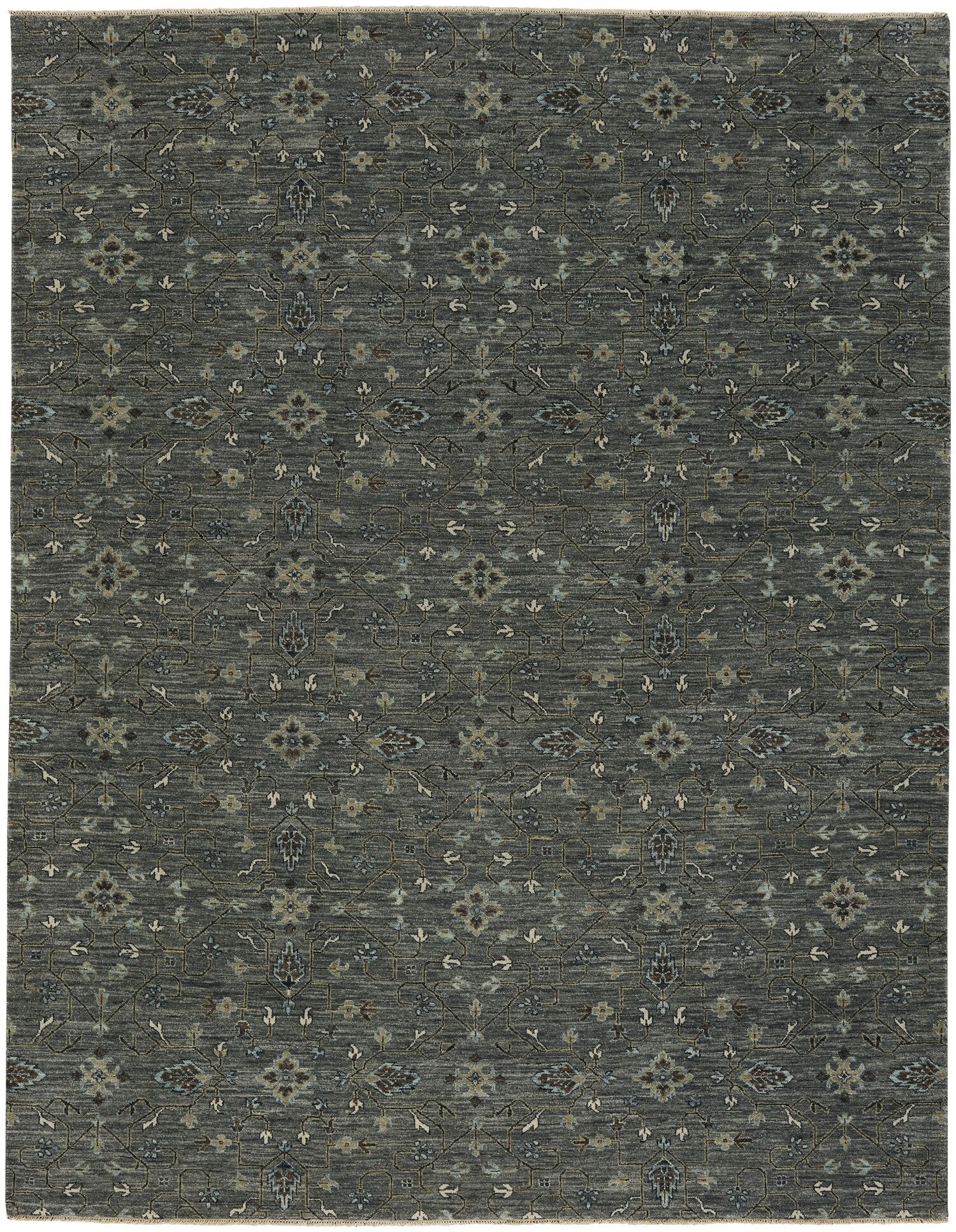 Heavenly Hand-Knotted Iron Area Rug Rug Size: 9' x 12'