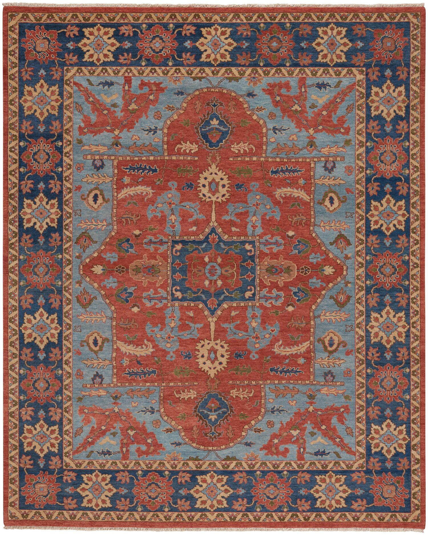 Biltmore Hand-Knotted Cinnamon/Deep Blue Area Rug Rug Size: 8'6