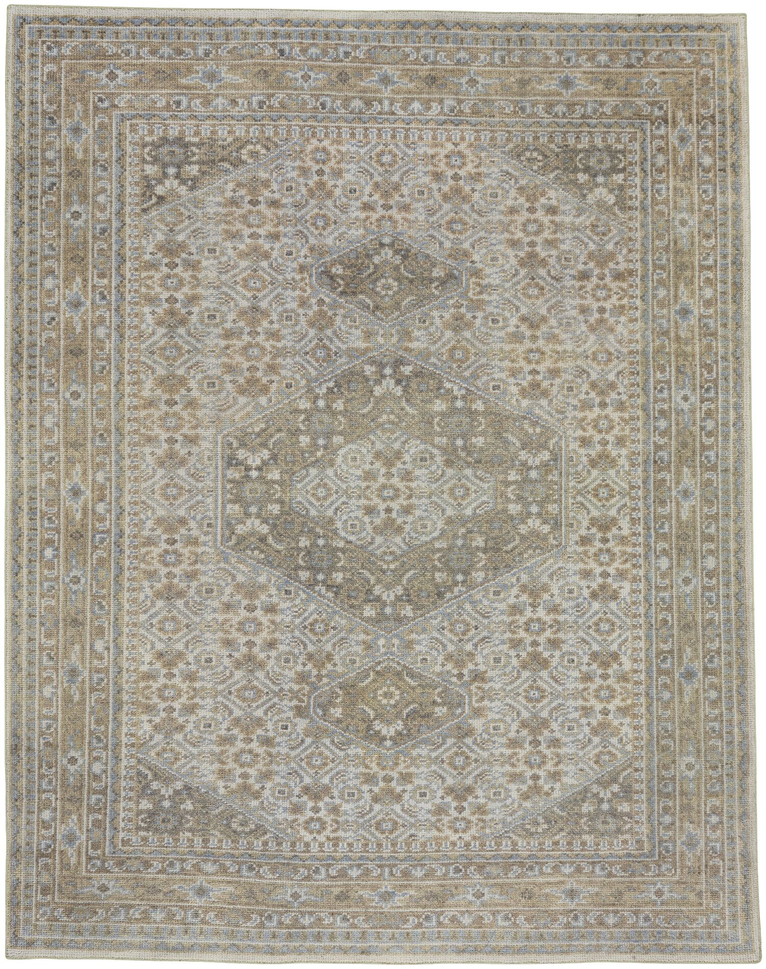 Cannae Hand-Knotted Light Tan/Pale Blue Area Rug Rug Size: 8' x 10'