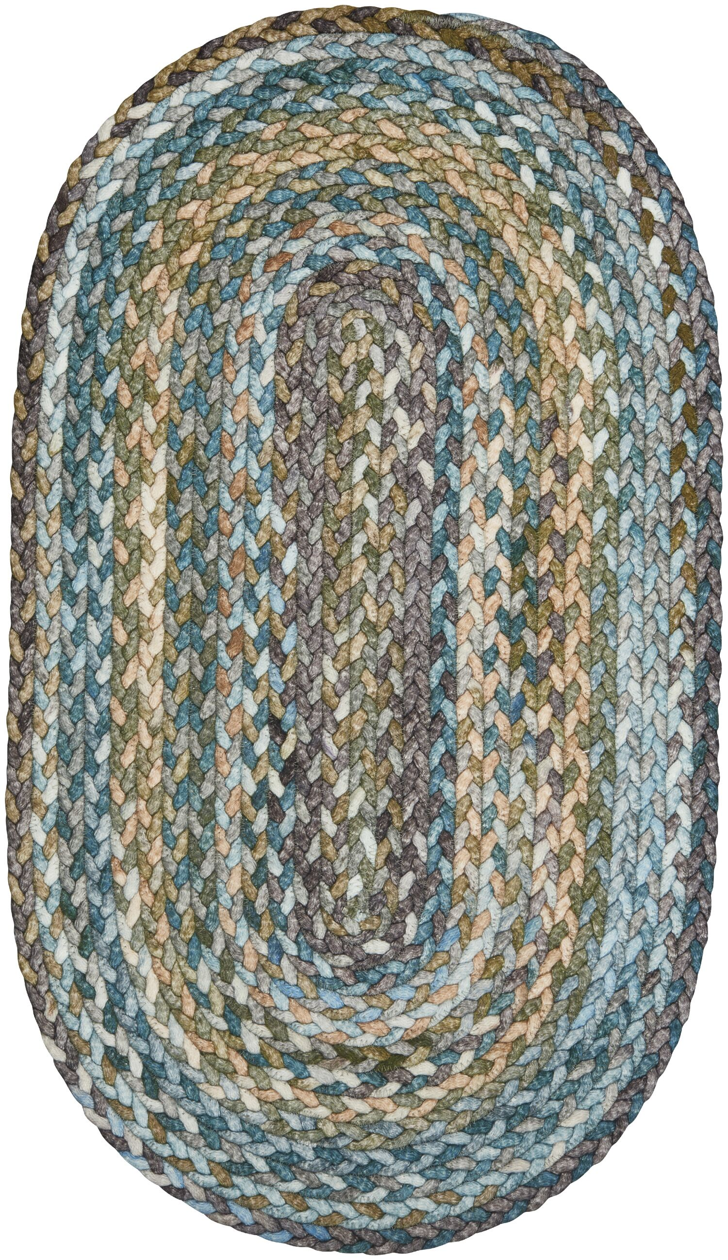 Ryland Braided Green/Blue Area Rug Rug Size: Oval 4' x 6'