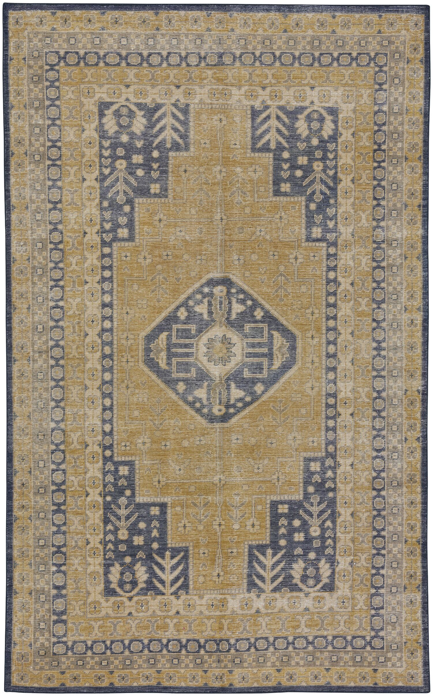 Caria Hand-Knotted Golden/Dark Blue Area Rug Rug Size: 5'6