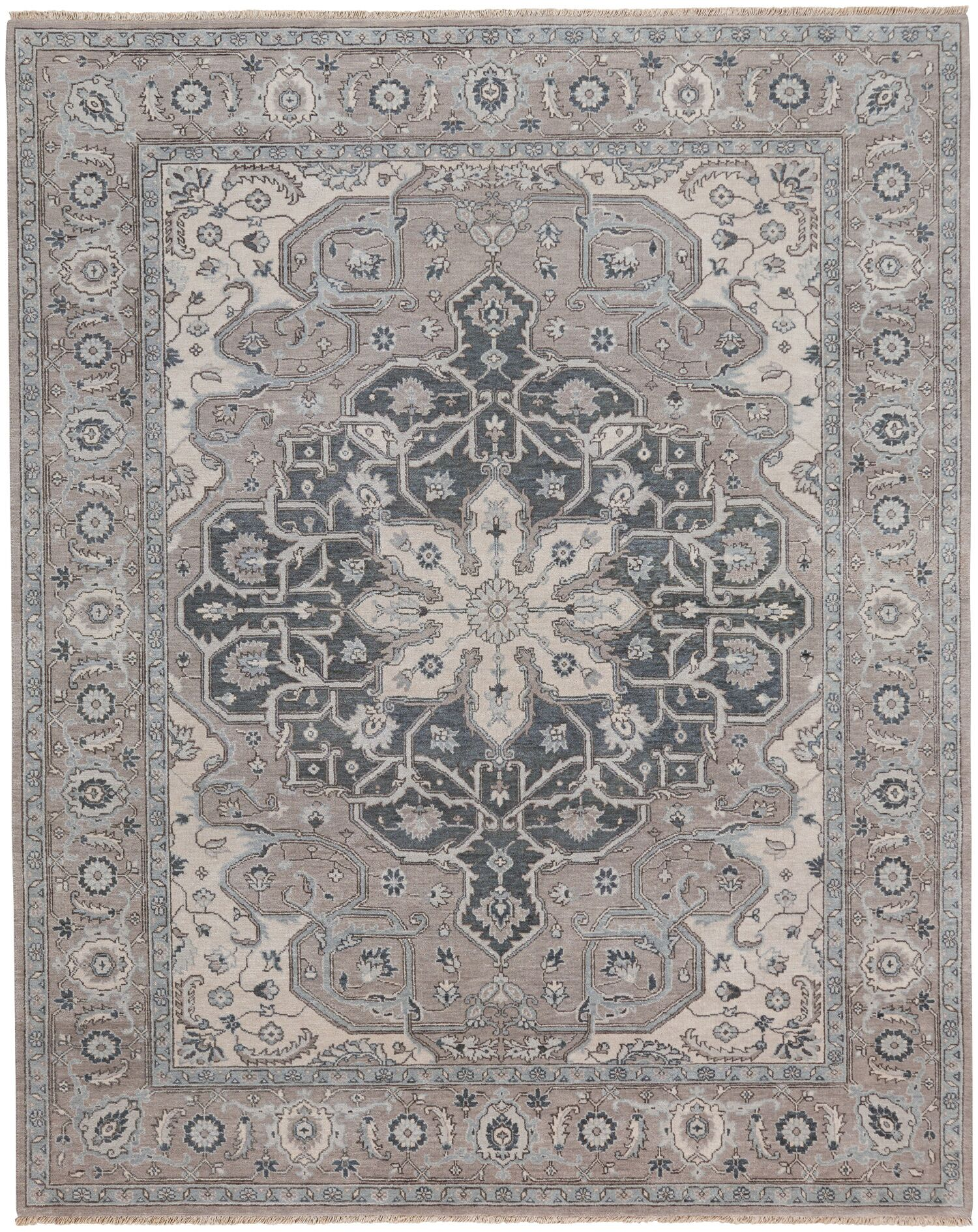 Biltmore Hand-Knotted Beige/Gray Area Rug Rug Size: Rectangle 8'6