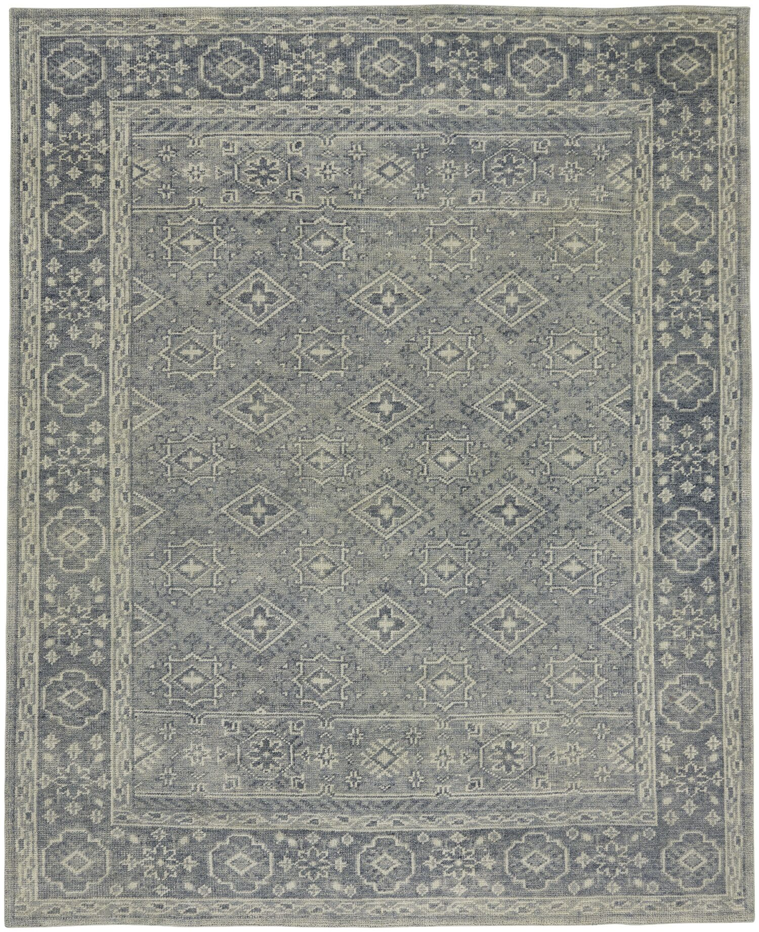 Cannae Hand-Knotted Blue Area Rug Rug Size: 8' x 10'