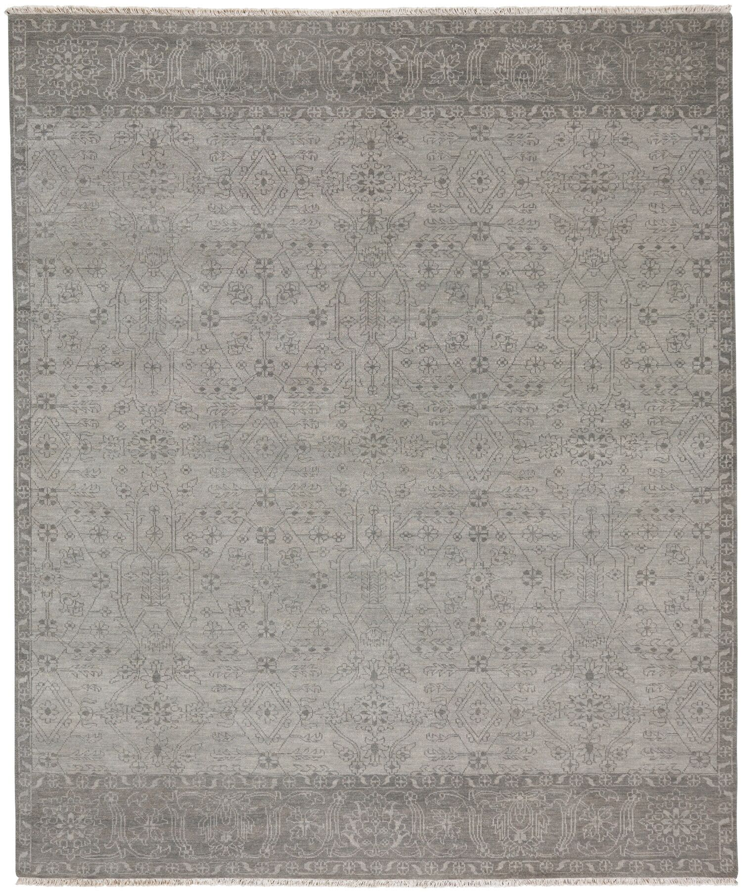 Biltmore Hand-Knotted Gray Area Rug Rug Size: 8'6