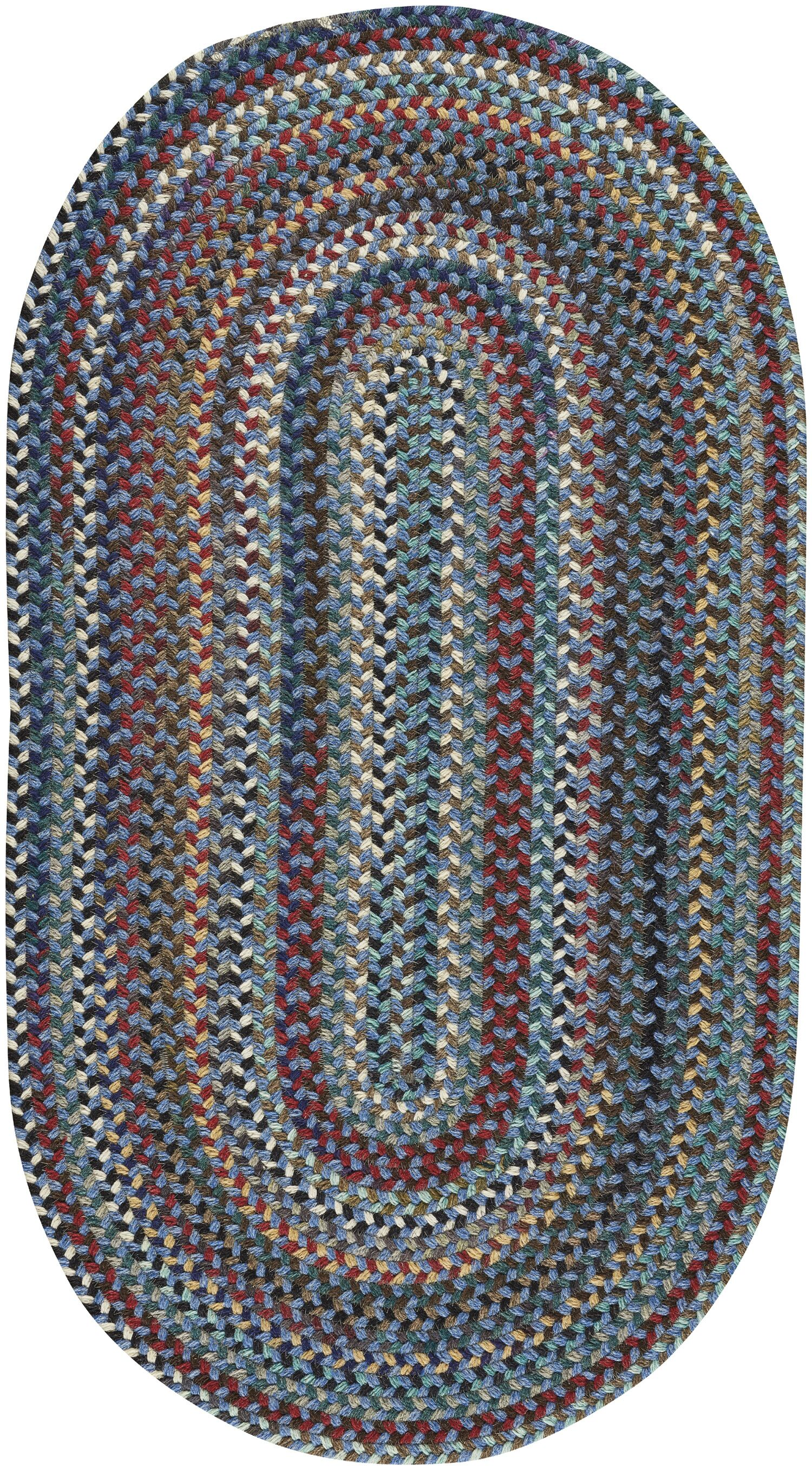 Heidi Blue/Red Area Rug Rug Size: Round 7'6