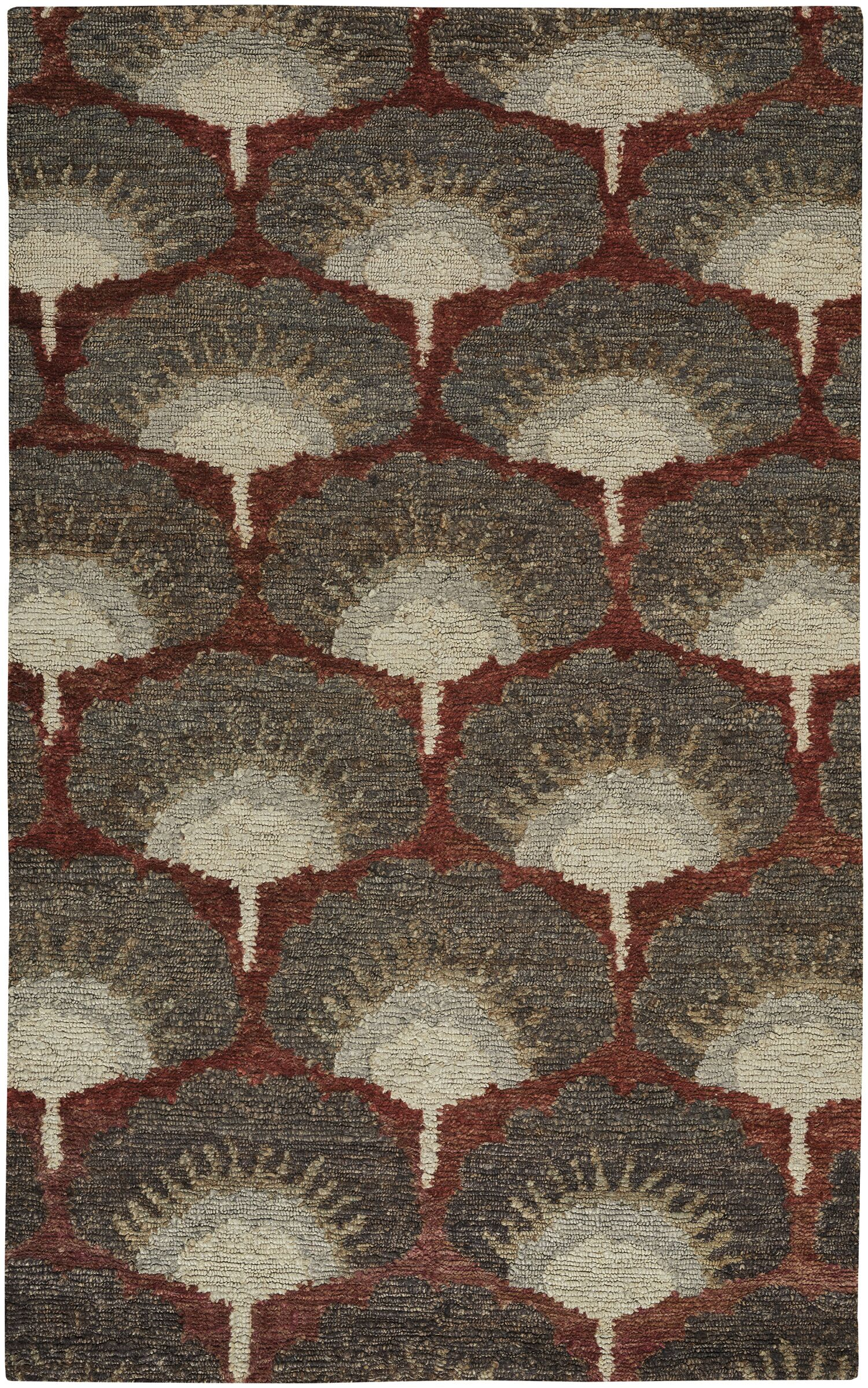 Chappell Hand-Knotted Red/Gray Area Rug Rug Size: 9' x 12'