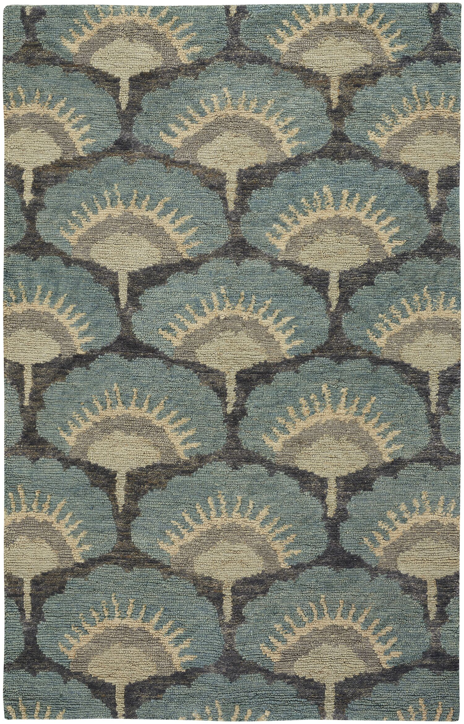 Chappell Hand-Knotted Blue Area Rug Rug Size: 9' x 12'