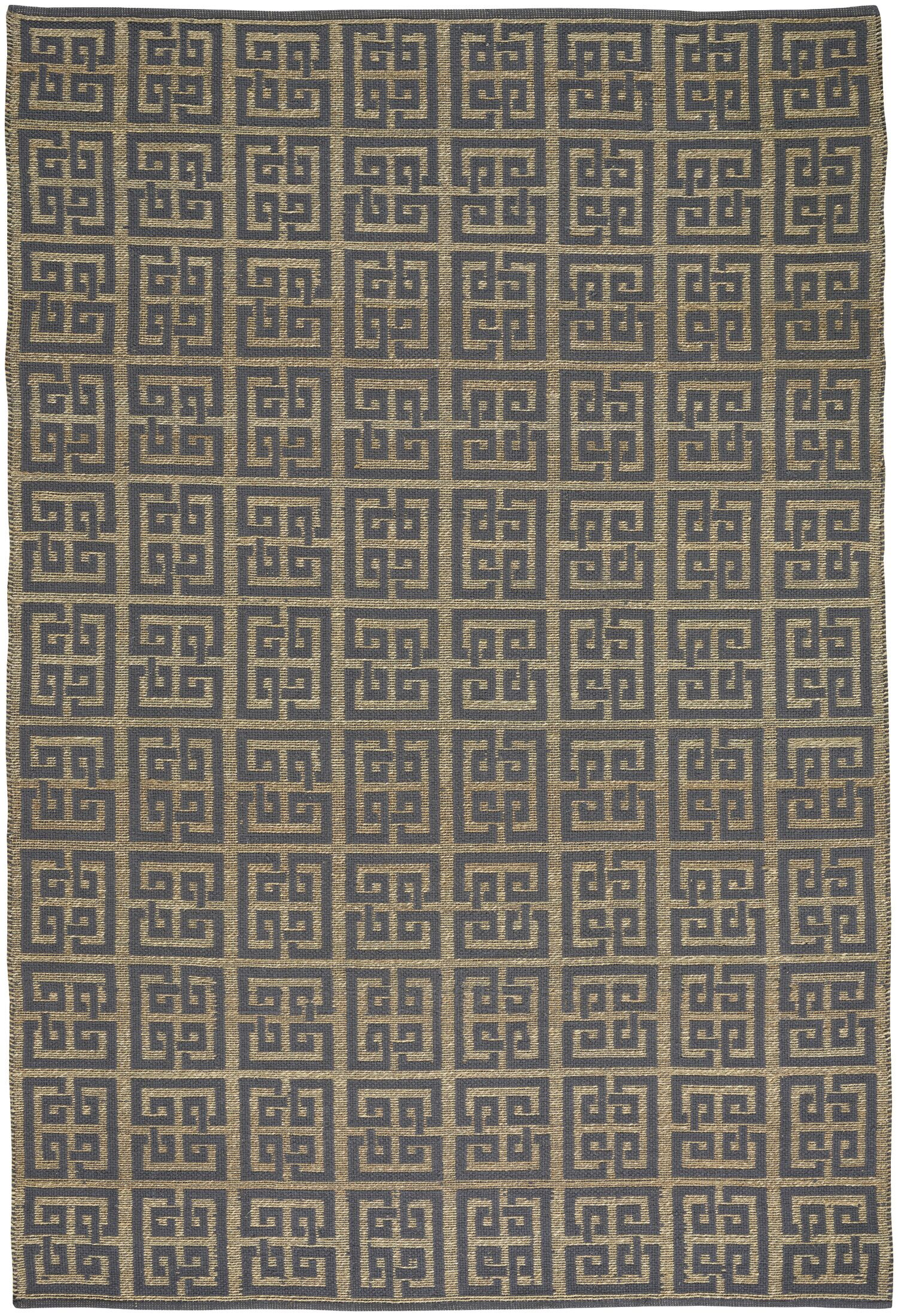 Maci Flat Cotton Blue/Brown Area Rug Rug Size: 3' x 5'