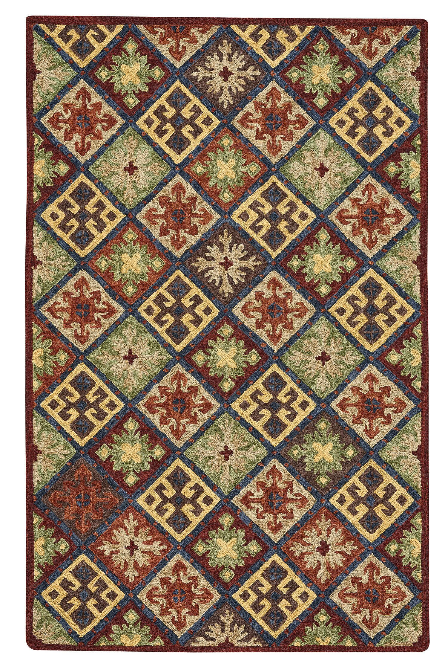 Oribe Quilt Hand-Tufted Wool Green/Brown/Red Area Rug Rug Size: 3'6