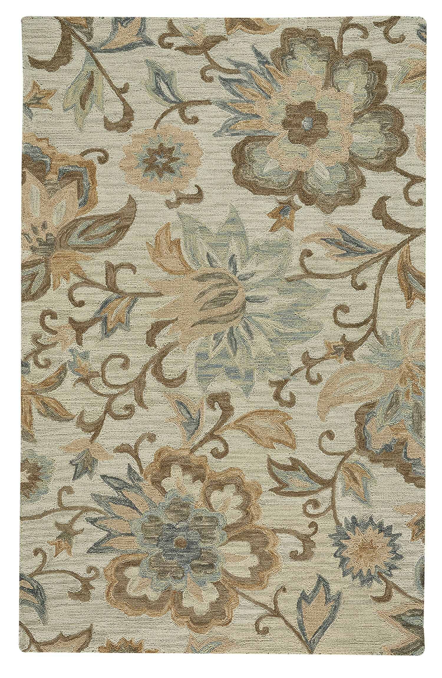 Birch Hill Traditional Hand-Tufted Wool Beige Area Rug Rug Size: 3'6