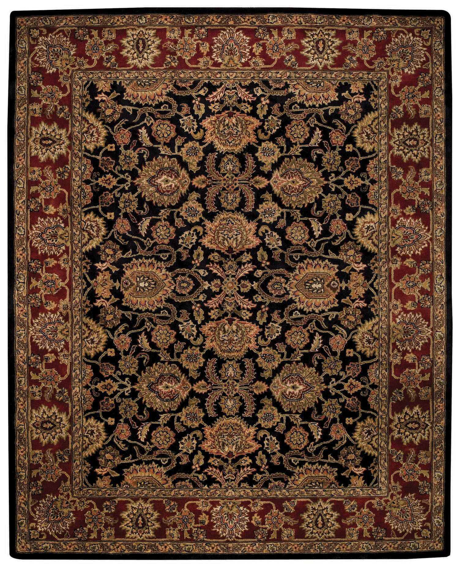 Woodland Black/Red Area Rug Rug Size: Rectangle 2' x 3'