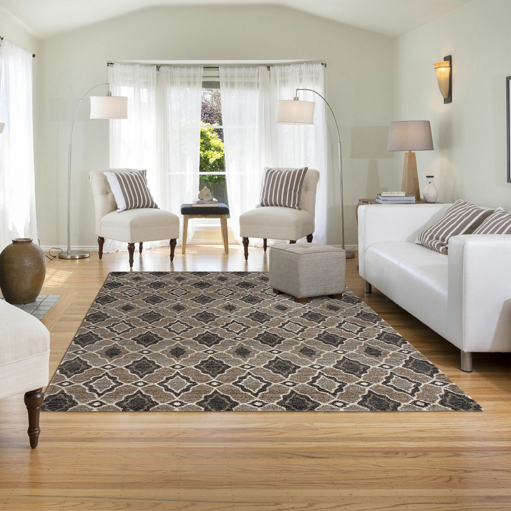 Busby Gray/Black Area Rug Rug Size: 7'10