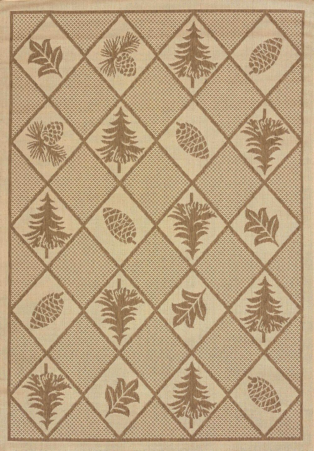 Solarium Pine Brown Indoor/Outdoor Rug Rug Size: 5'3