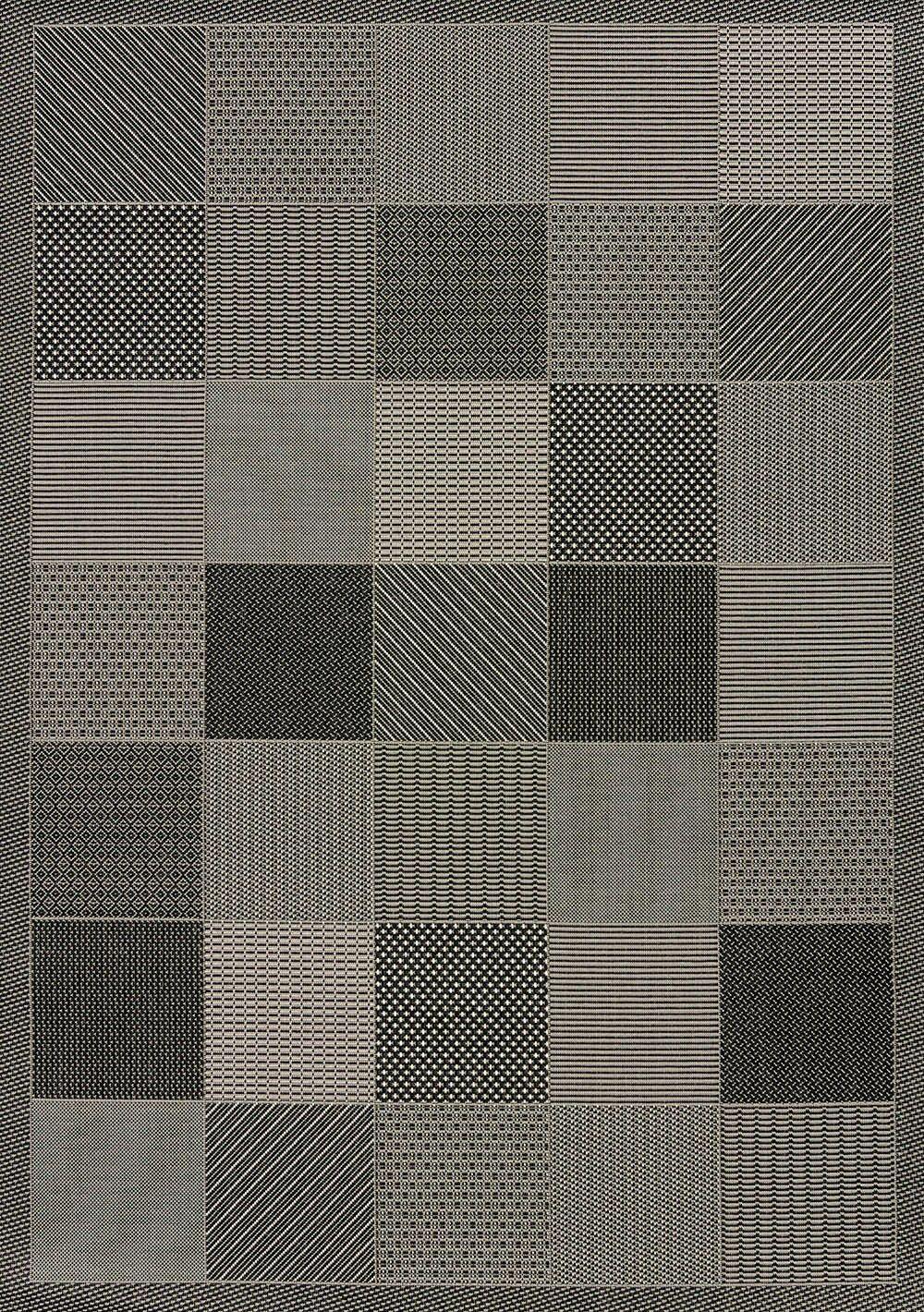 Solarium Gray Patio Block Indoor/Outdoor Rug Rug Size: 5'3