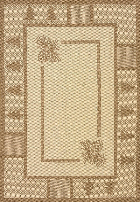 Solarium Pine Brown Court Indoor/Outdoor Rug Rug Size: 5'3