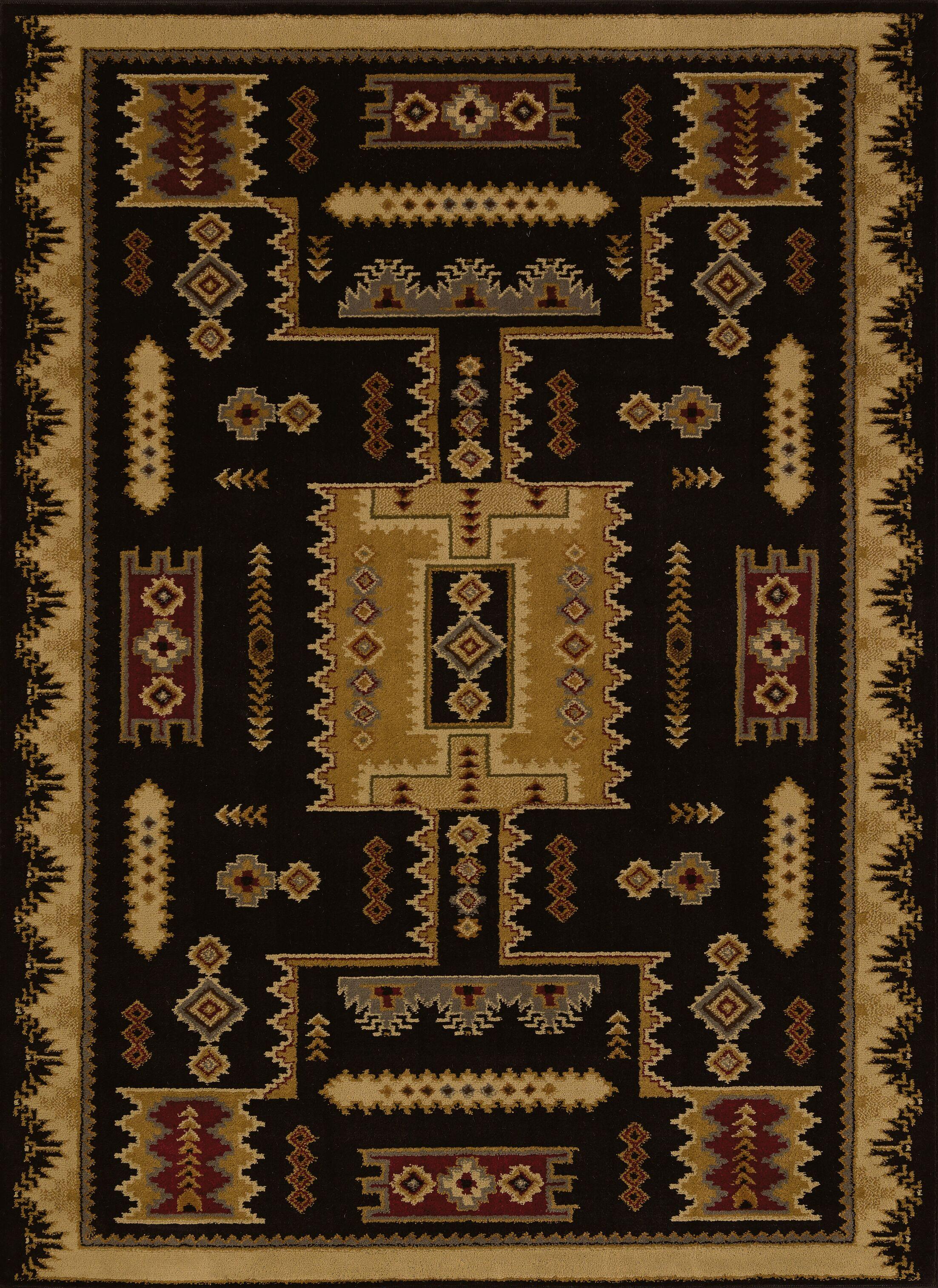 Affinity Colton Black Area Rug Rug Size: 7'10