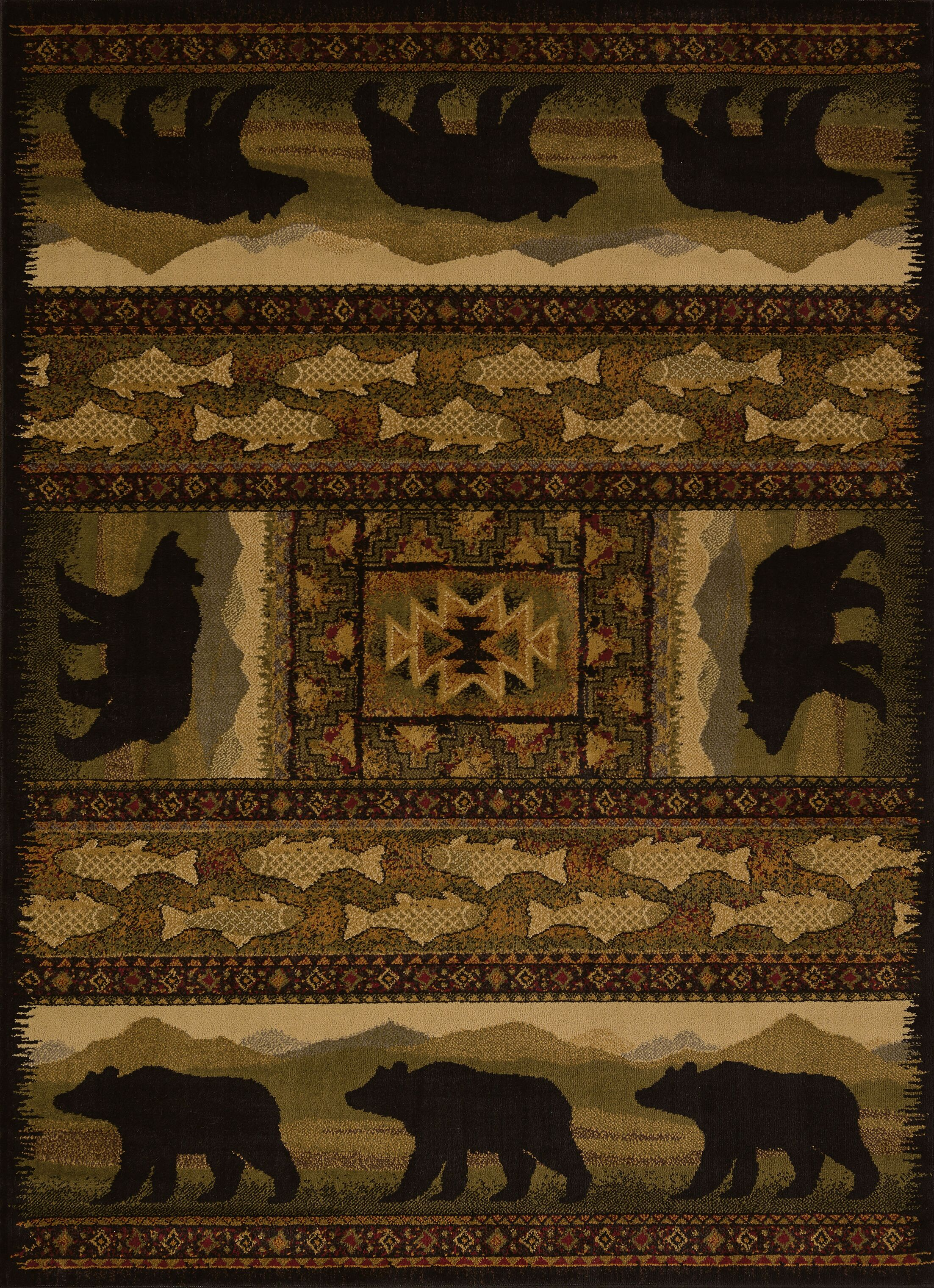 Sayre Black Bears Lodge Ivory Area Rug Rug Size: 5'3