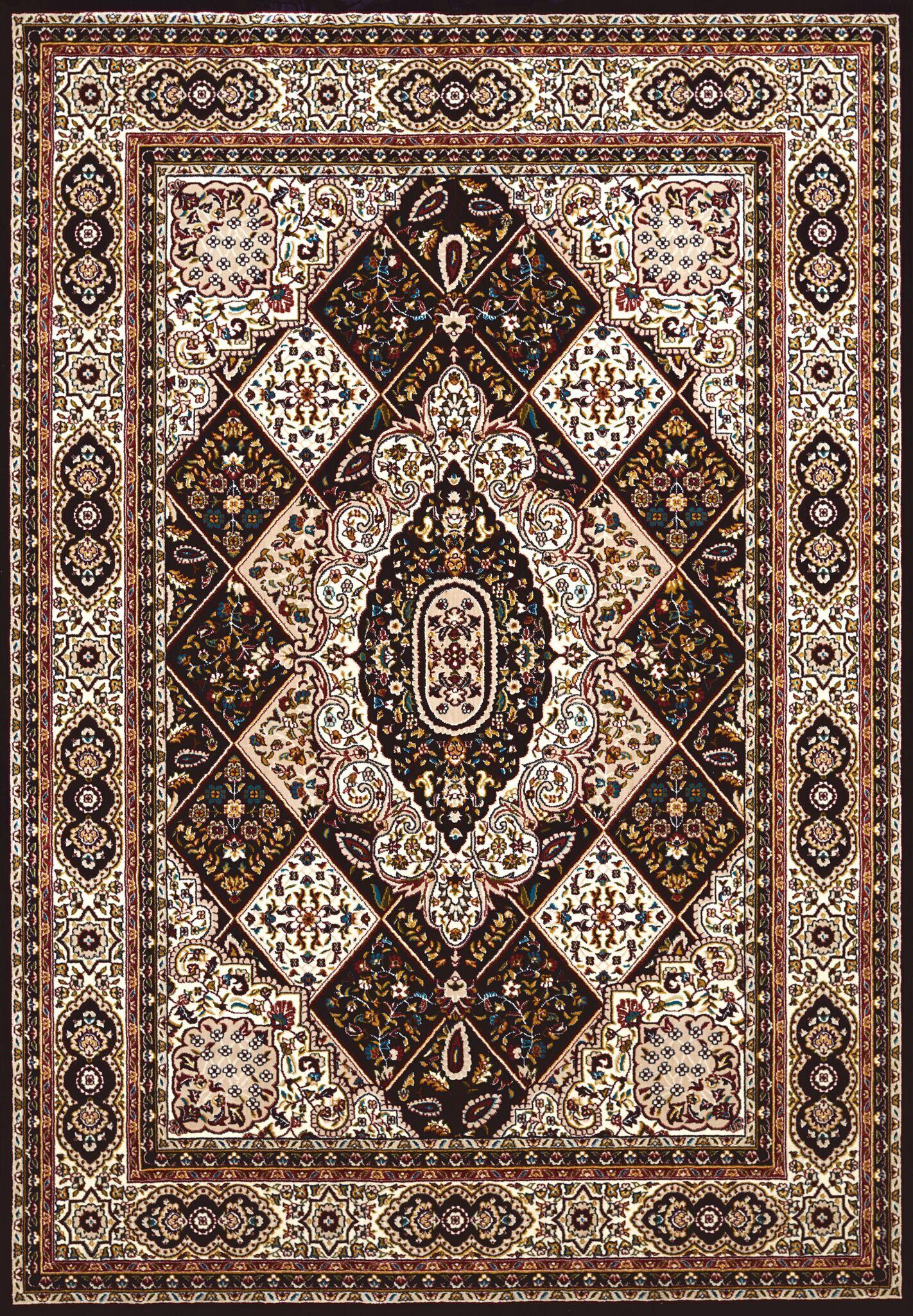 Antiquities Kirman Jewel Black/Beige Area Rug Rug Size: 7'10