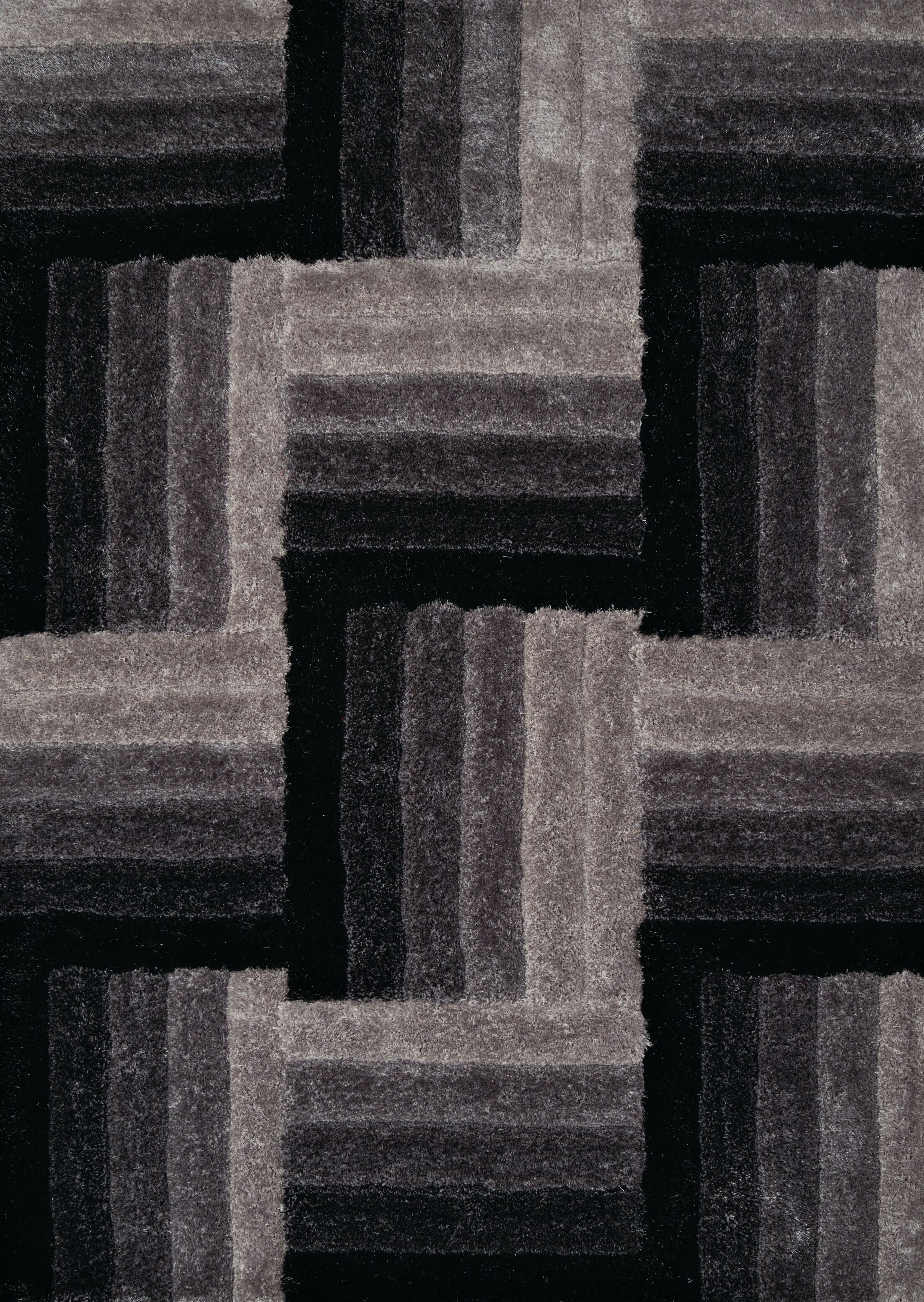Finesse Hand-Woven Black Area Rug Rug Size: 7'10