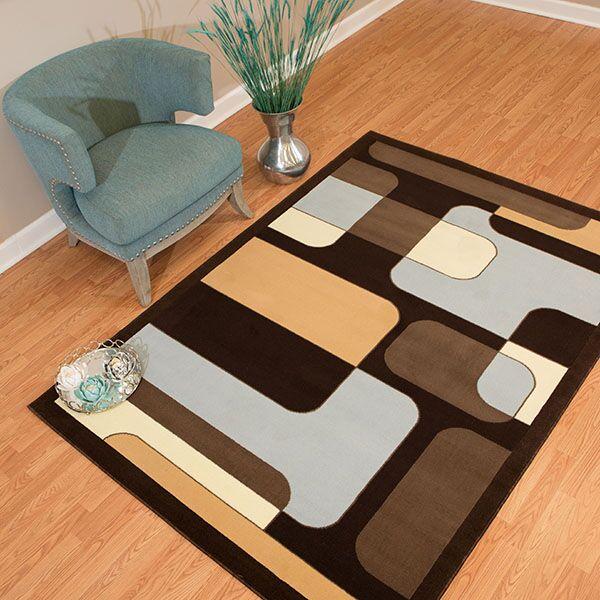 Eloise Blue/Brown Area Rug Rug Size: Rectangle 7'10