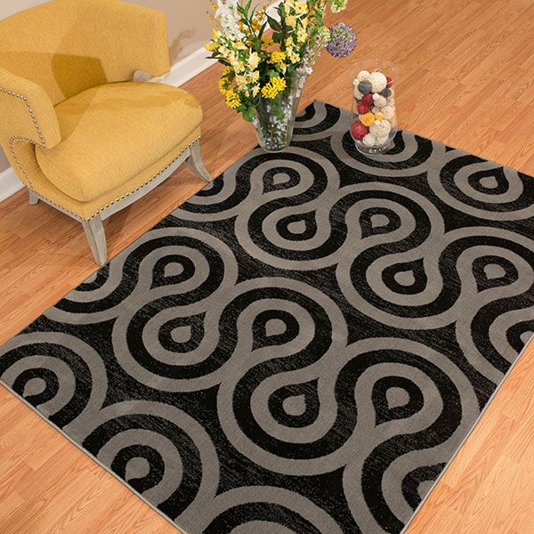 Partlow Black/Gray Area Rug Rug Size: Rectangle 1'10