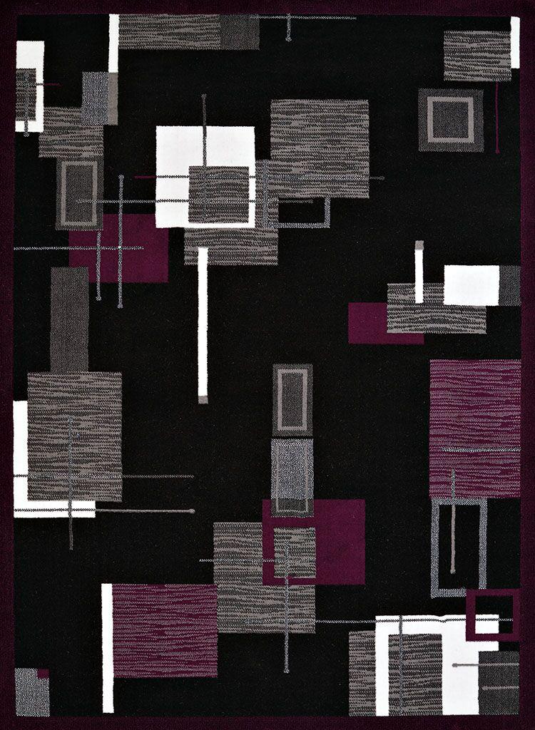 Eloise Black/Plum Area Rug Rug Size: Rectangle 5'3